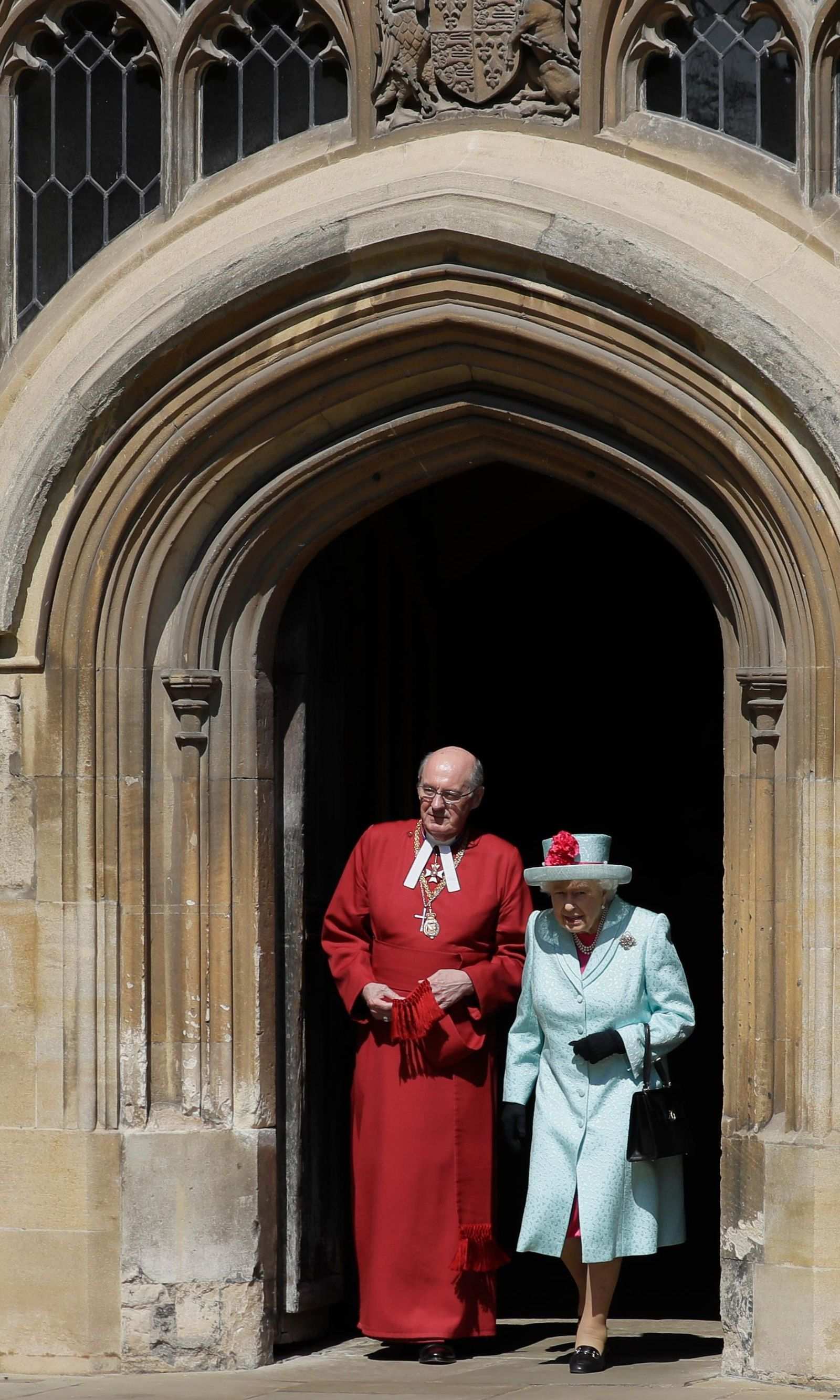 Britain's Queen Elizabeth II leaves after attending the Easter Mattins Service at St. George's Chapel, at Windsor Castle in England Sunday, April 21, 2019. (AP Photo/Kirsty Wigglesworth, pool)