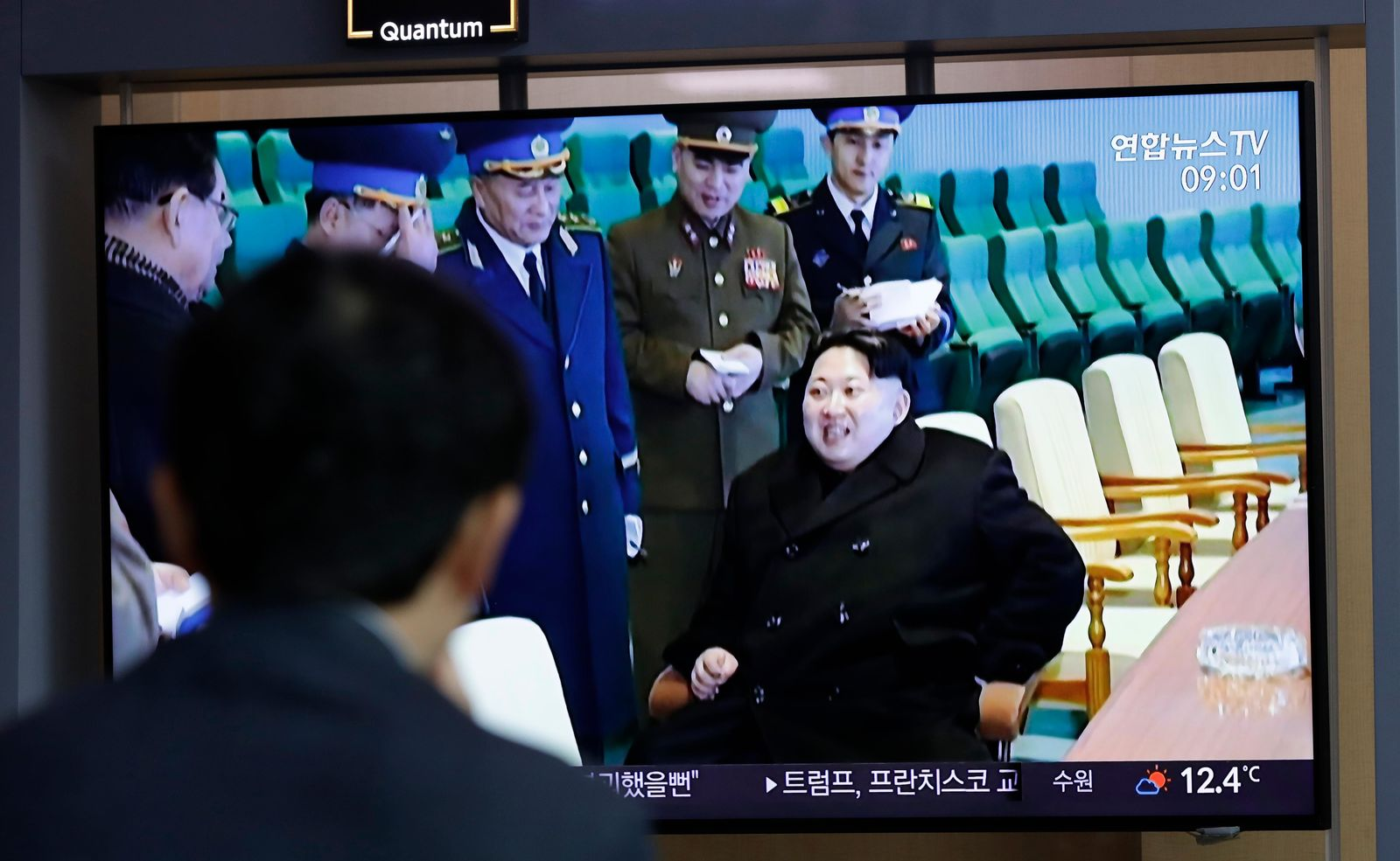 "A man watches a TV news program reporting about North Korea's test-fire of a ""new-type tactical guided weapon,"" with a footage of North Korean leader Kim Jong Un, at the Seoul Railway Station in Seoul, South Korea, Thursday, April 18, 2019. (AP Photo/Lee Jin-man)"