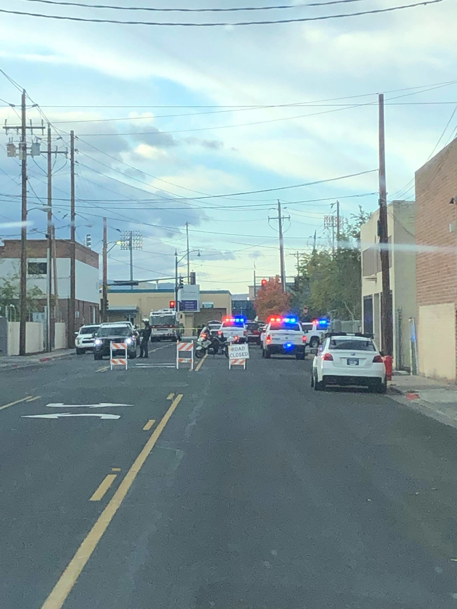 Washoe County Sheriff's Office investigating a fatal pedestrian crash involving a Reno Fire Department vehicle on 4th Street. (Photo by Jesse Richards)