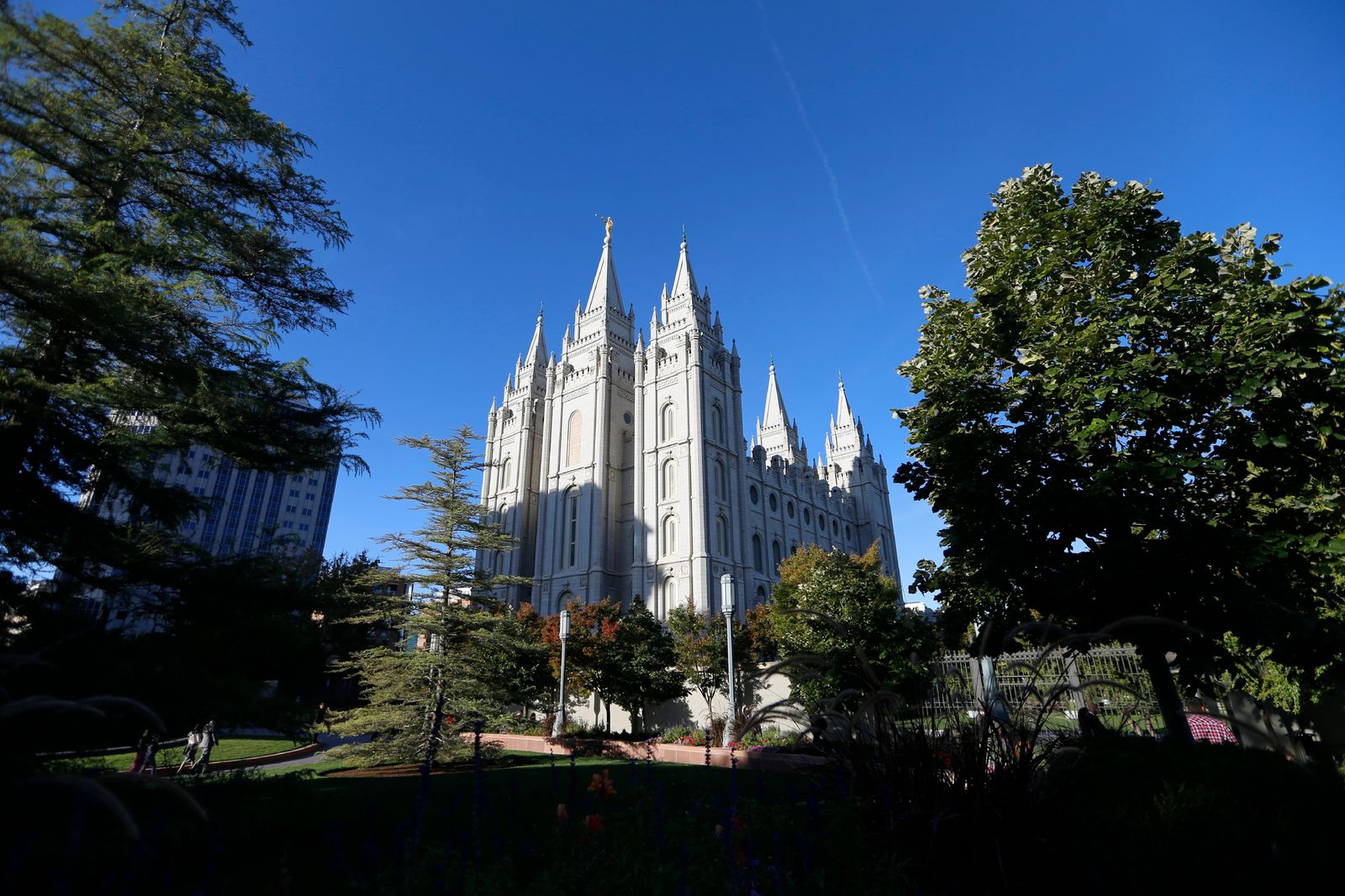FILE - In this Oct. 5, 2019, file photo, the Salt Lake Temple of the Church of Jesus Christ of Latter-Day Saints is shown in Salt Lake City. The discredited practice of conversion therapy for LGBTQ children is now banned in Utah, making it the 19th state and one of the most conservative to prohibit it. (AP Photo/Rick Bowmer, File)