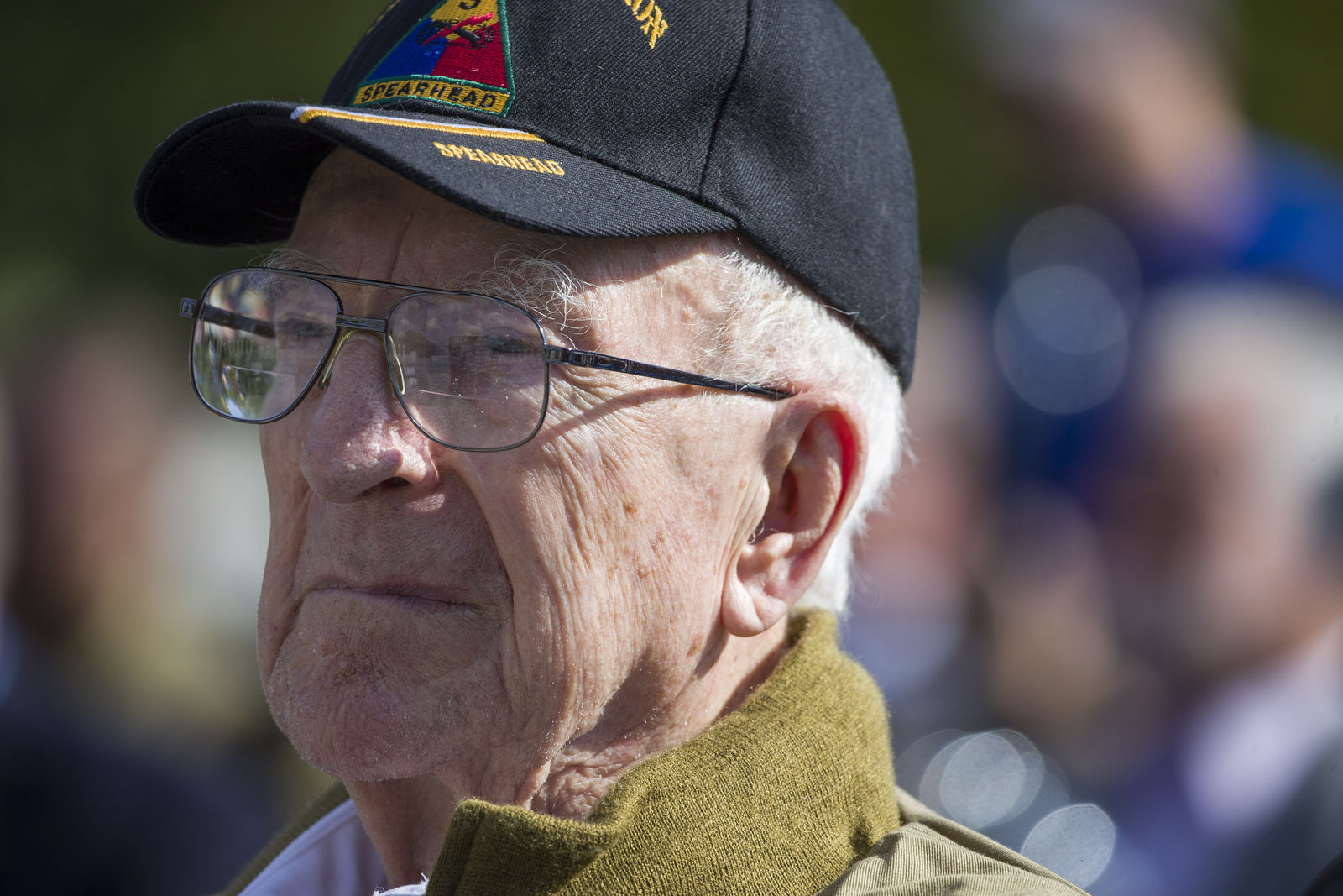World War II veteran Clarence Smoyer, 96, sits before receiving the Bronze Star at the World War II Memorial, Wednesday, Sept. 18, 2019, in Washington. Smoyer fought with the U.S. Army's 3rd Armored Division, nicknamed the Spearhead Division. AP Photo/Alex Brandon)