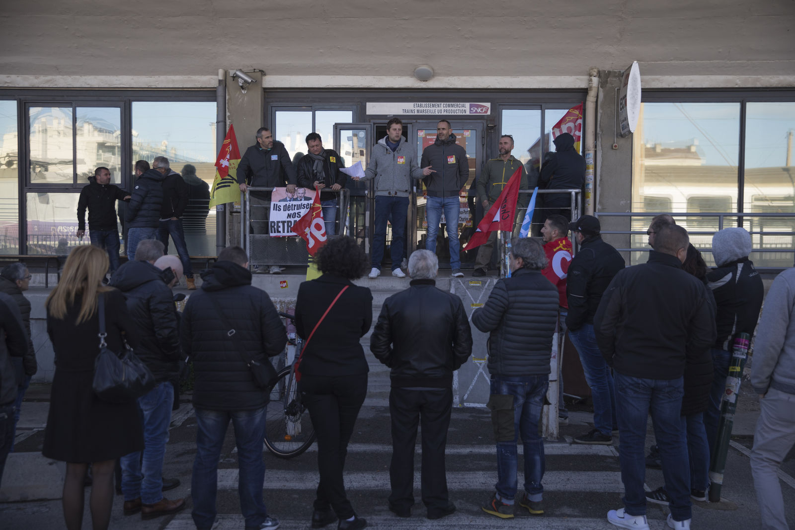 Railway workers gather for a union general assembly meeting at the Gare St-Charles station in Marseille, southern France, Monday, Dec. 9, 2019.{ } (AP Photo/Daniel Cole)