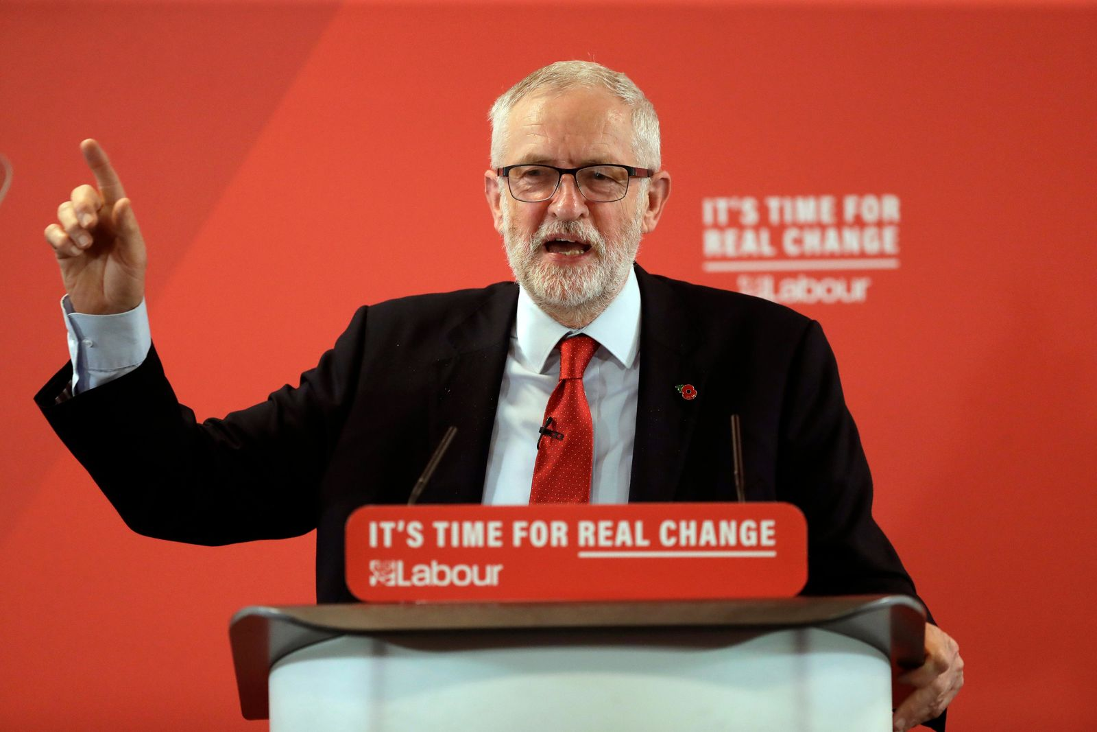 FILE- Britain's opposition Labour party leader Jeremy Corbyn delivers a speech during their election campaign event on Brexit in Harlow, England, Tuesday, Nov. 5, 2019. Britain goes to the polls on Dec. 12. (AP Photo/Matt Dunham)