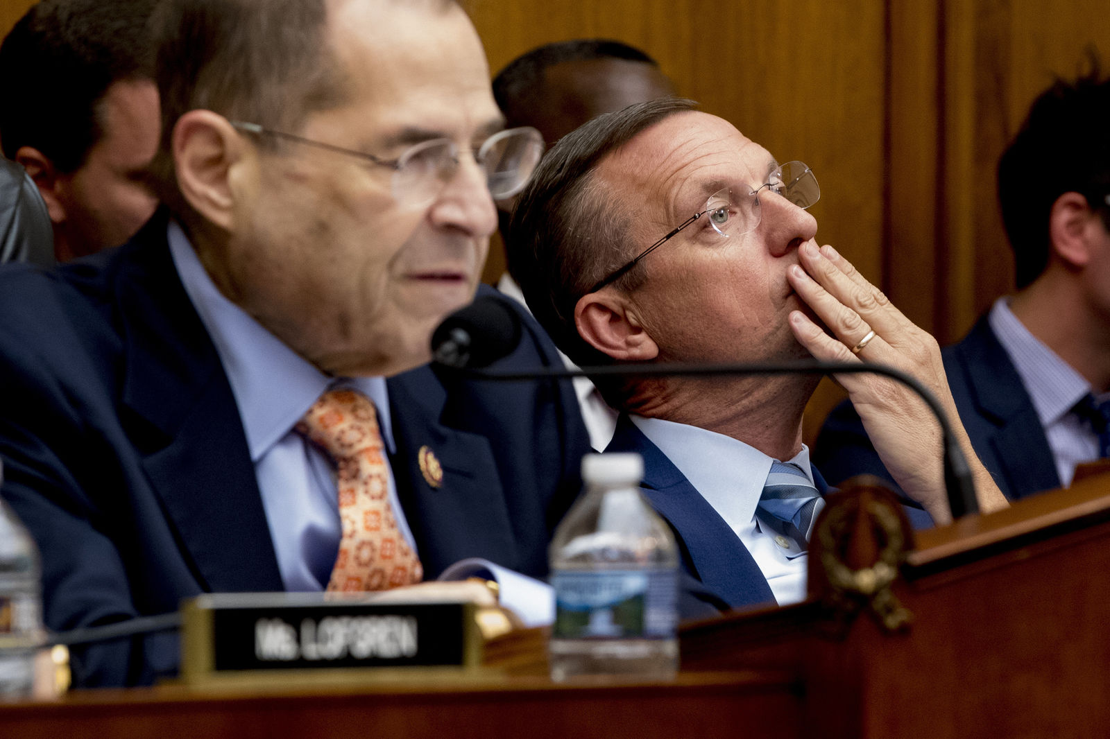 Ranking Member Rep. Doug Collins, R-Ga., right, listens as Judiciary Committee Chairman Jerrold Nadler, D-N.Y., left, speaks at a House Judiciary Committee hearing without former White House Counsel Don McGahn, who was a key figure in special counsel Robert Mueller's investigation, on Capitol Hill in Washington. (AP Photo/Andrew Harnik)