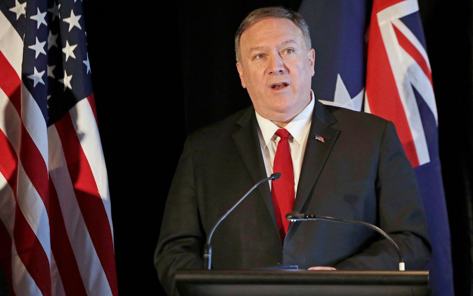 U.S. Secretary of State Mike Pompeo briefs the media at a press conference following annual bilateral talks with Australian counterparts in Sydney, Australia, Sunday, Aug. 4, 2019. (AP Photo/Rick Rycroft)