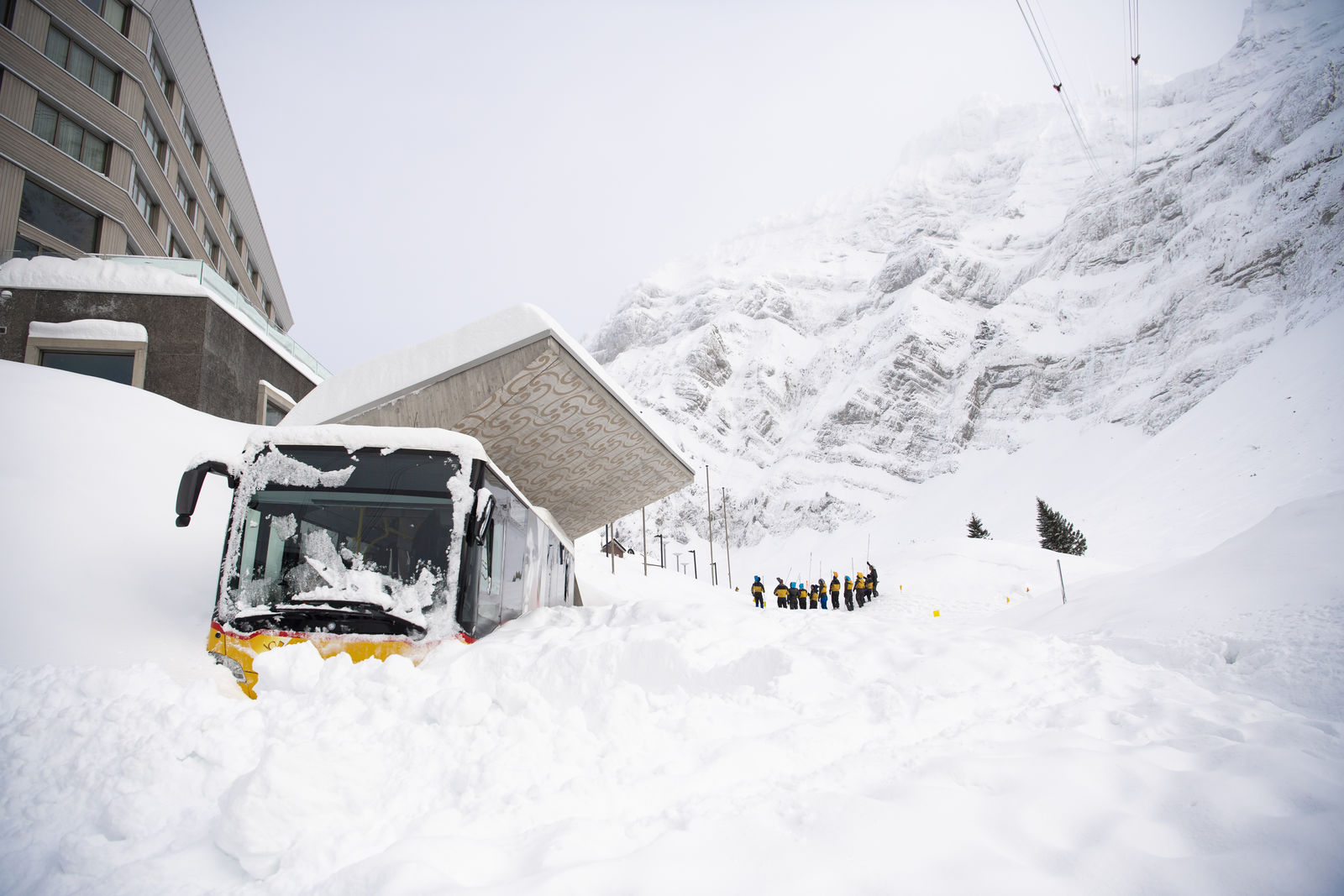 Snow is piled up outside the Hotel Saentis in Schwaegalp, Switzerland, Friday Jan. 11. (Gian Ehrenzeller/Keystone via AP)
