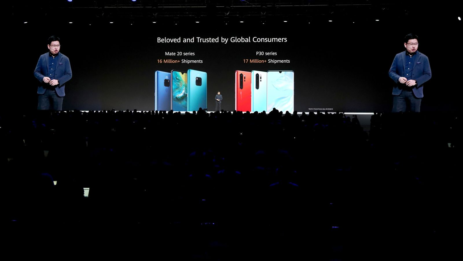 Richard Yu, CEO of the Huawei consumer business group, presents new devices during an event in Munich, Germany, Thursday, Sept. 19, 2019. (AP Photo/Matthias Schrader)
