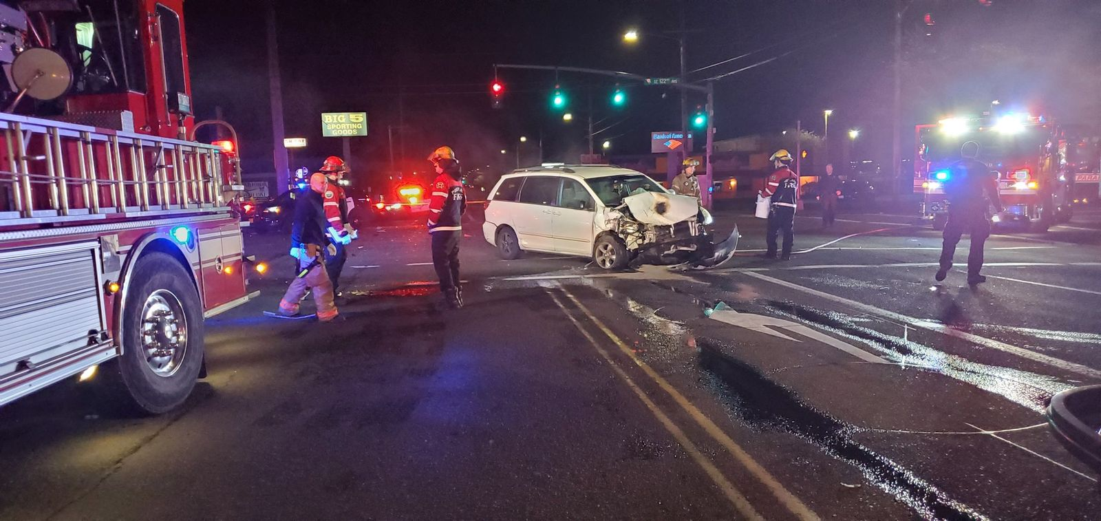 Police say three people were seriously injured in a crash in Southeast Portland on April 23, 2019. Photo courtesy Portland Police Bureau{ }