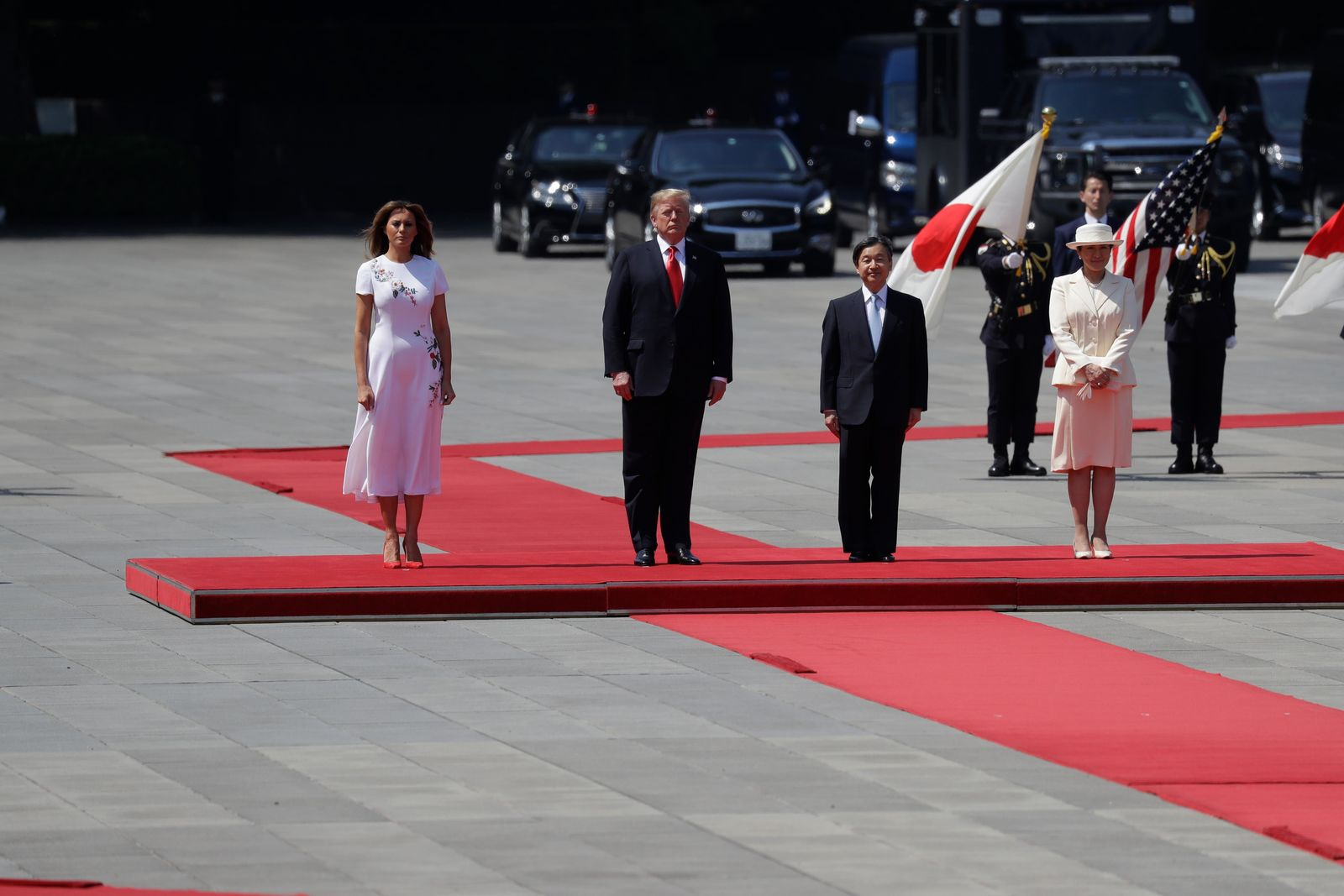 President Donald Trump and first lady Melania Trump participate with Japanese Emperor Naruhito and Empress Masako during an Imperial Palace welcome ceremony at the Imperial Palace, Monday, May 27, 2019, in Tokyo. (AP Photo/Evan Vucci)