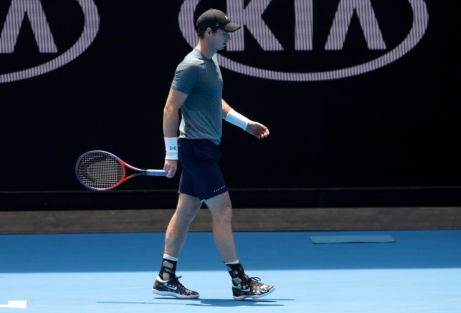 Britain's Andy Murray walks between points during his practice match against Serbia's Novak Djokovic on Margaret Court Arena ahead of the Australian Open tennis championships IN Melbourne, Australia, Thursday, Jan. 10, 2019. (AP Photo/Mark Baker)