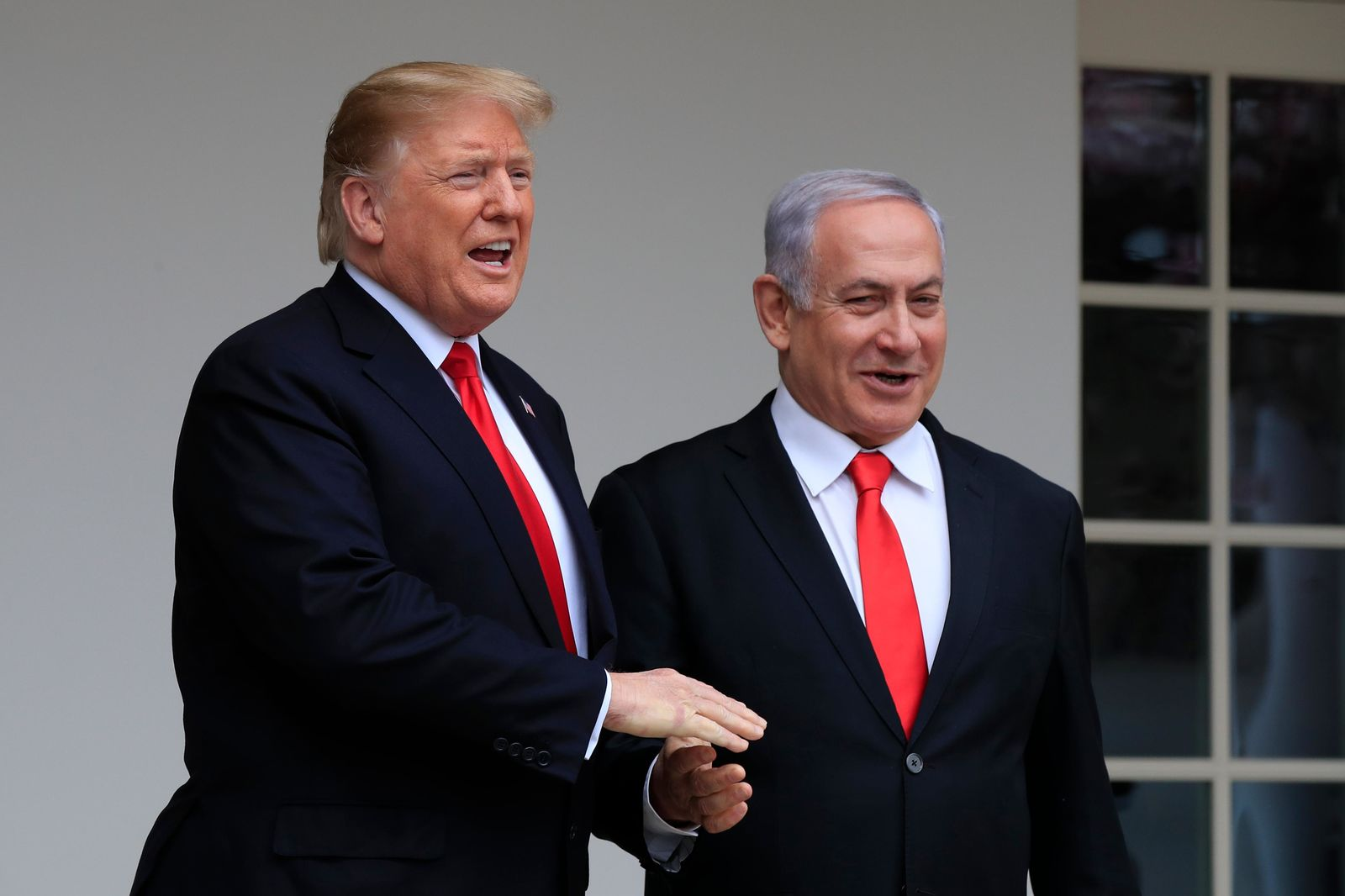 President Donald Trump welcomes visiting Israeli Prime Minister Benjamin Netanyahu to the White House in Washington, Monday, March 25, 2019. (AP Photo/Manuel Balce Ceneta) Presiden