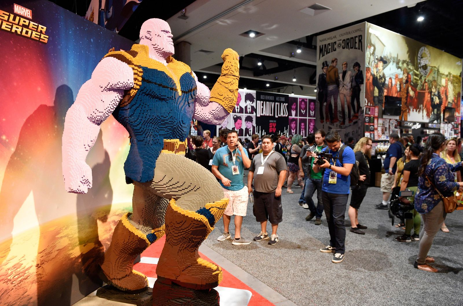 "An oversized Lego action figure from Marvel's ""Avengers: Infinity War"" is displayed on the convention floor during Preview Night of the 2018 Comic-Con International at the San Diego Convention Center, Wednesday, July 18, 2018, in San Diego. (Photo by Chris Pizzello/Invision/AP)"