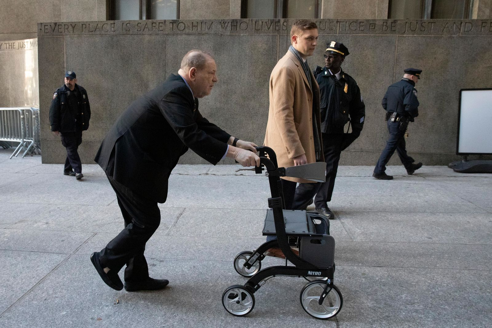 Harvey Weinstein arrives at court for his trial on charges of rape and sexual assault Friday, Jan. 24, 2020 in New York. (AP Photo/Mark Lennihan)