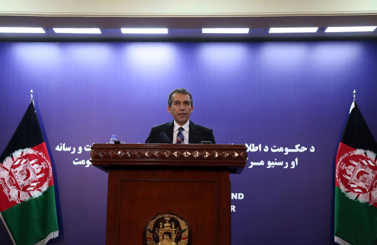 Afghan Presidential Spokesman Sediq Seddqi gives a press conference in Kabul, Afghanistan, Sunday, Sept. 8, 2019. (AP Photo/Rahmat Gul)