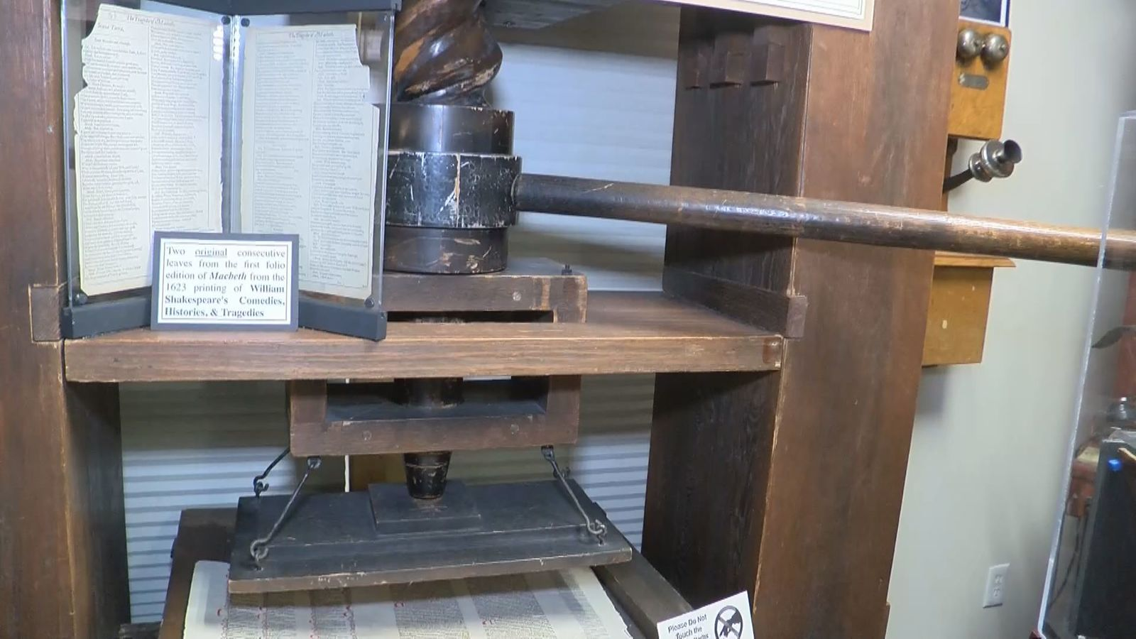 A reproduction of the Gutenberg Printing Press.