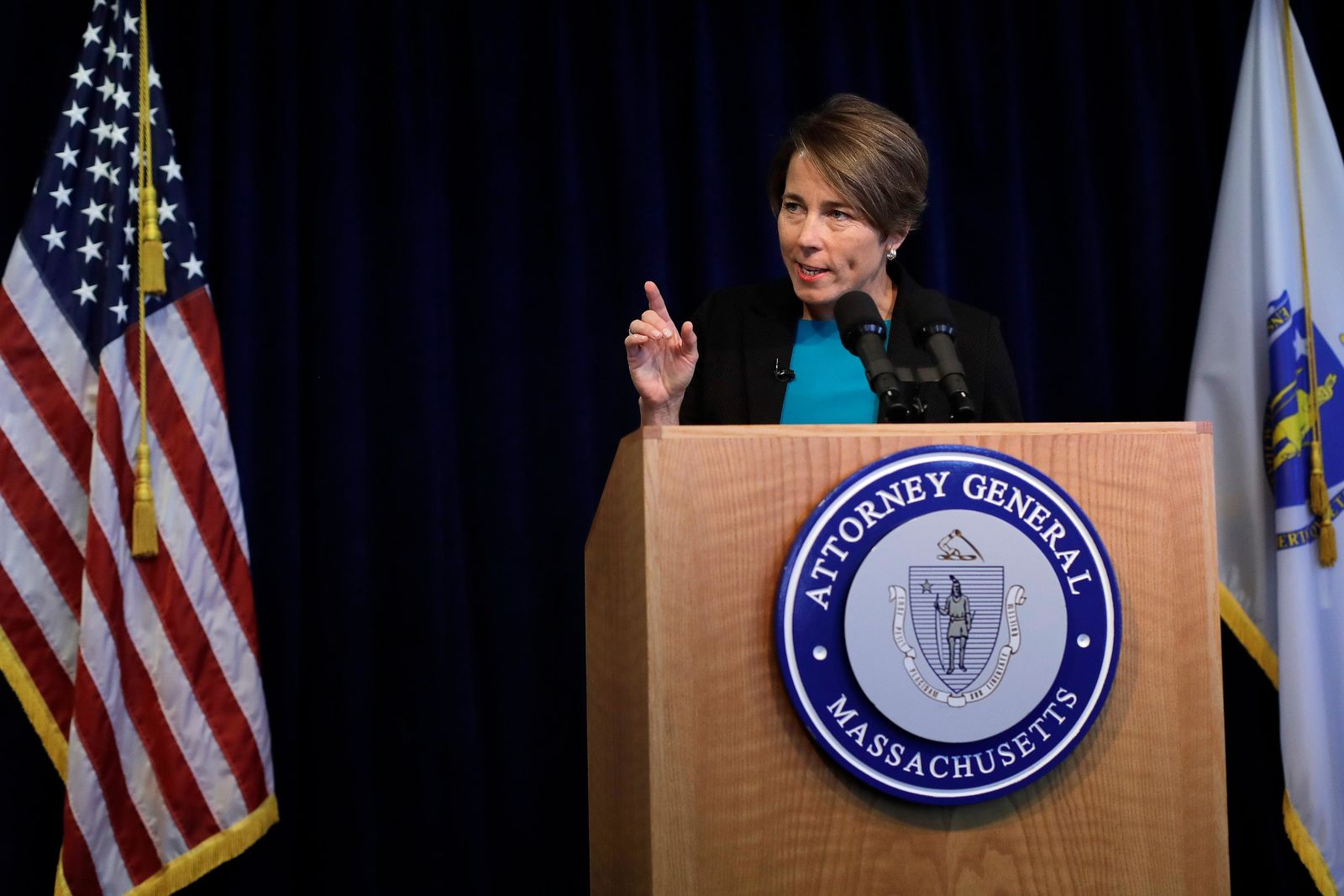 Massachusetts Attorney General Maura Healey takes questions from members of the media during a news conference, Monday, Sept. 16, 2019, in Boston. (AP Photo/Steven Senne)