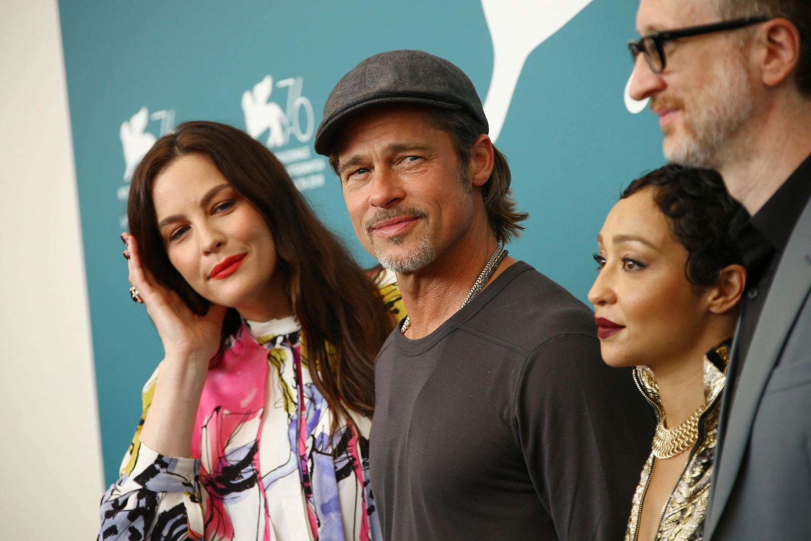 Actors Liv Tyler, from left, Brad Pitt, Ruth Negga and director James Gray pose for photographers at the photo call for the film 'Ad Astra' at the 76th edition of the Venice Film Festival in Venice, Italy, Thursday, Aug. 29, 2019. (Photo by Joel C Ryan/Invision/AP)