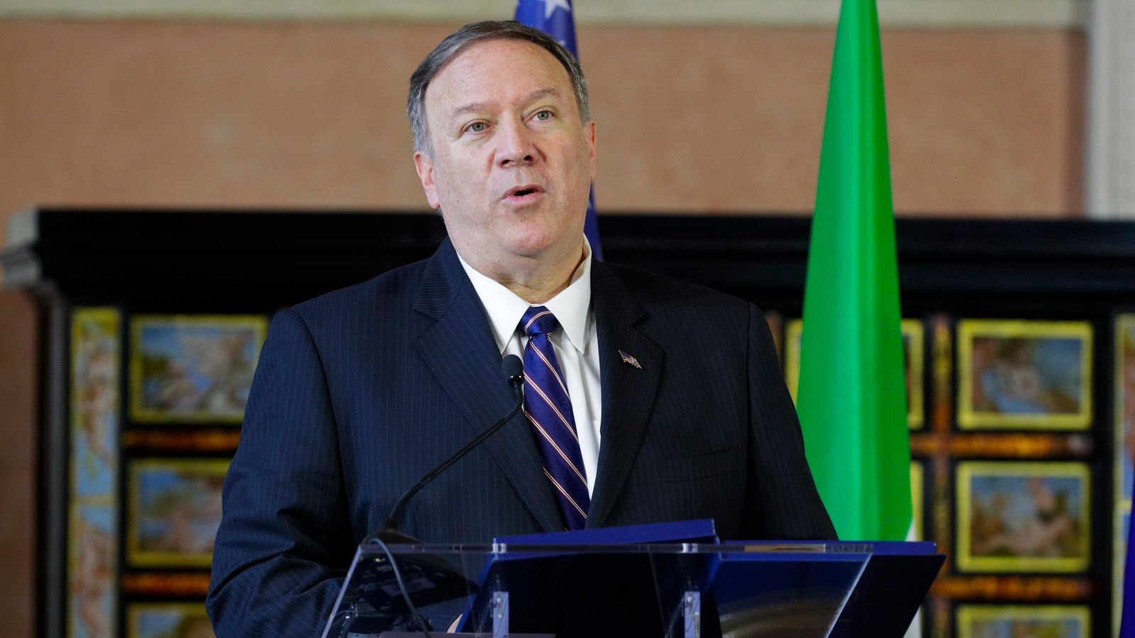 U.S. Secretary of State, Mike Pompeo speaks after meeting Italian Foreign Minister Luigi Di Maio in Rome, Wednesday, Oct. 2, 2019. (AP Photo/Andrew Medichini)
