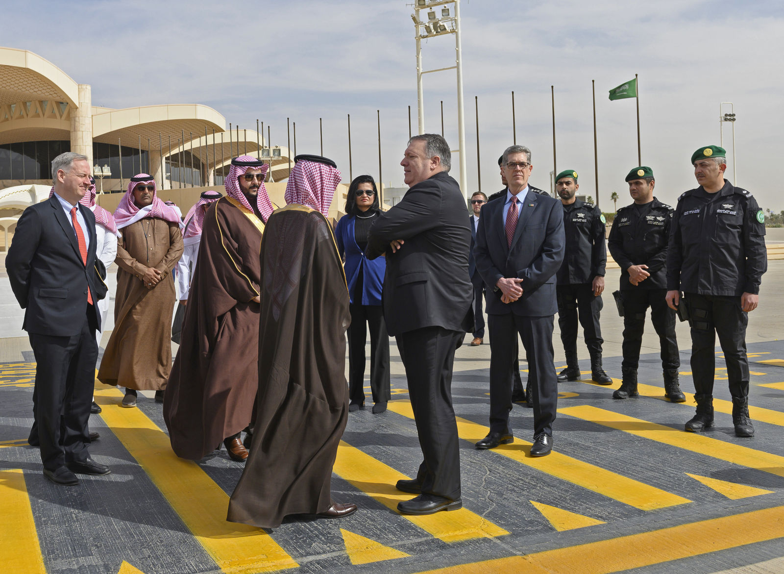 U.S. Secretary of State Mike Pompeo, center is seen off by Saudi Minister of State for Foreign Affairs Adel al-Jubeir, left, as he departs from Saudi Arabia's King Khalid International, in Riyadh, Monday, January 14, 2019. (Andrew Cabellero-Reynolds/Pool via AP)