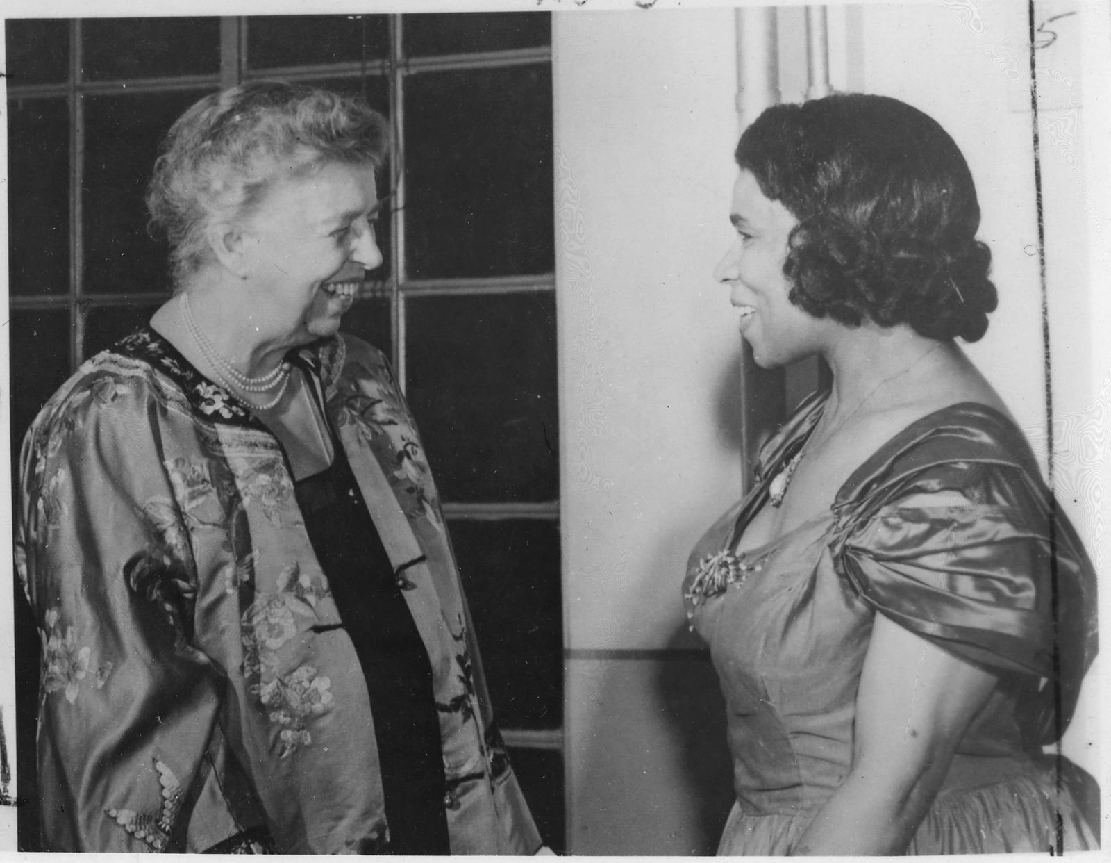 Eleanor Roosevelt and Marian Anderson in Japan, 05/22/1953. Civil rights activist and opera singer Anderson later famously sang at the 10963 March on Washington.{ }