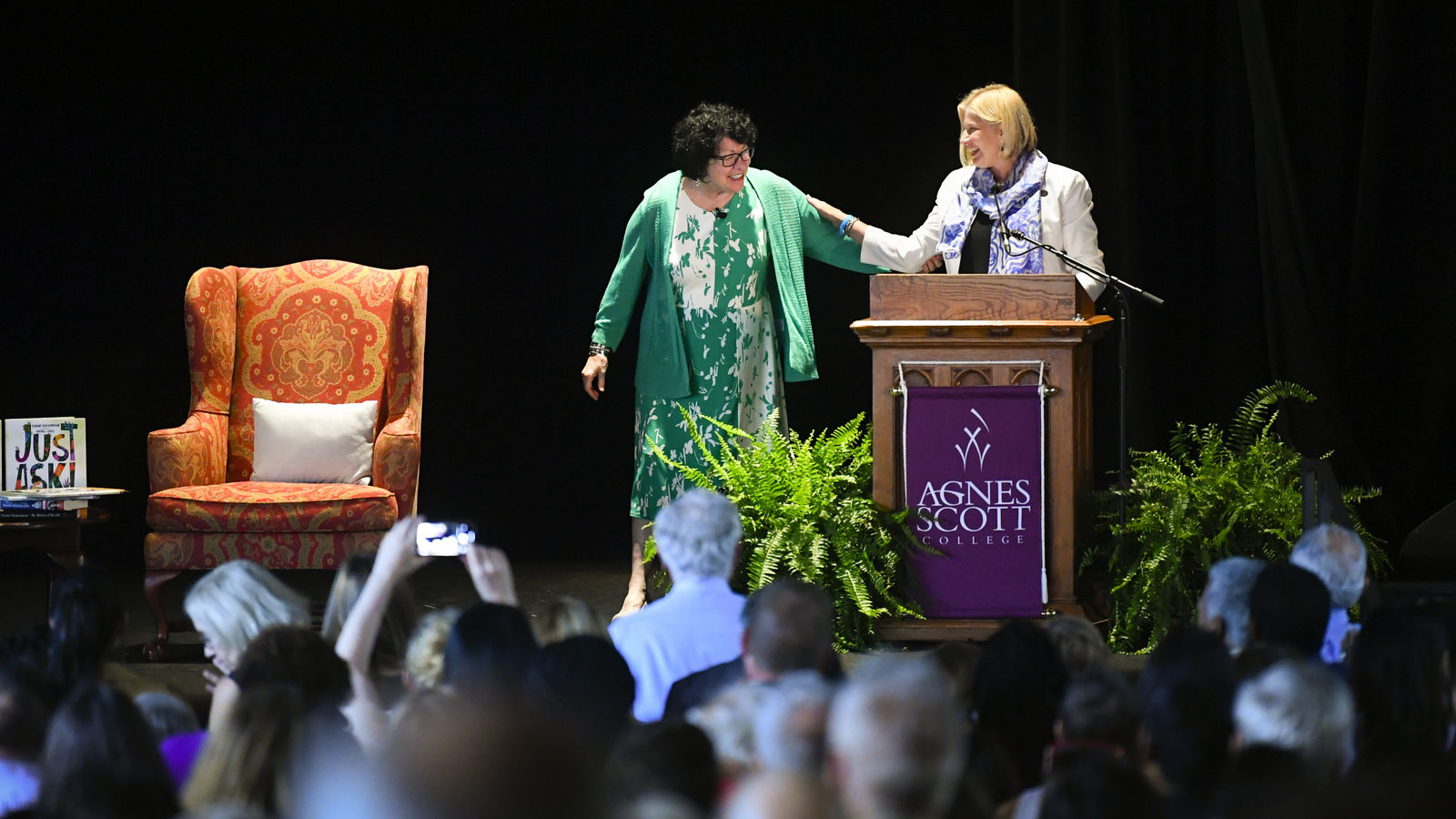 "U.S. Supreme Court Justice Sonia Sotomayor, left, is introduced by Agnes Scott College President Leocadia I. Zak during an event in connection with her new children's book ""Just Ask!"" Sunday, Sept. 1, 2019, in Decatur, Ga. (AP Photo/John Amis)"