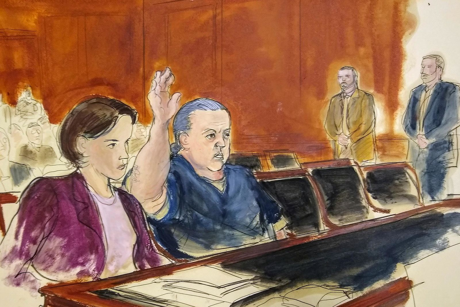 FILE- This Nov. 6, 2018 file courtroom sketch, pipe bomb suspect Cesar Sayoc raises his arm to swear to the truth of his statement of need for assigned counsel, during his presentment in Manhattan Federal Court in New York. (Elizabeth Williams via AP)