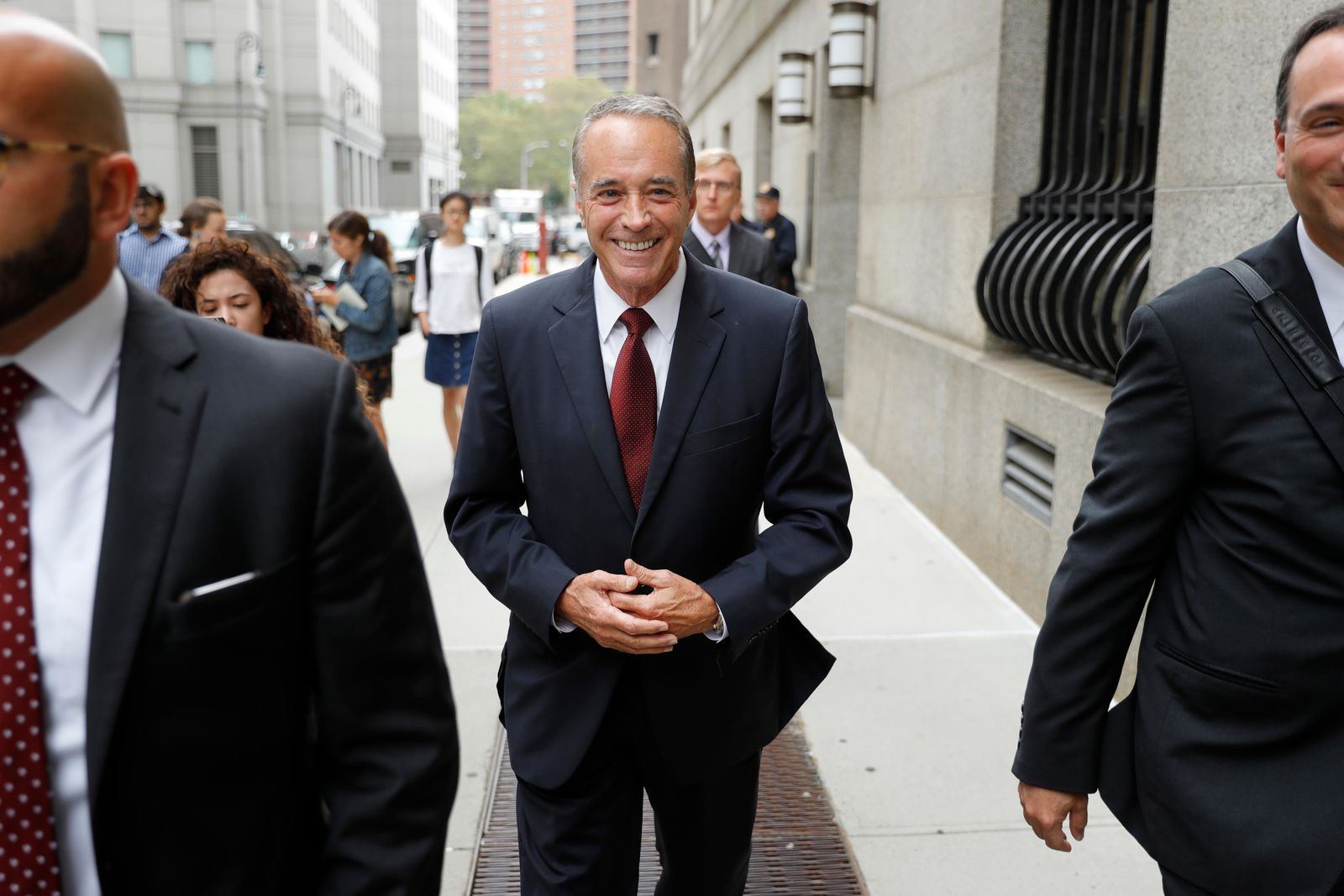 U.S. Rep. Chris Collins, R-N.Y., leaves the courthouse after a pretrial hearing in his insider-trading case, Thursday, Sept. 12, 2019, in New York. (AP Photo/Seth Wenig)