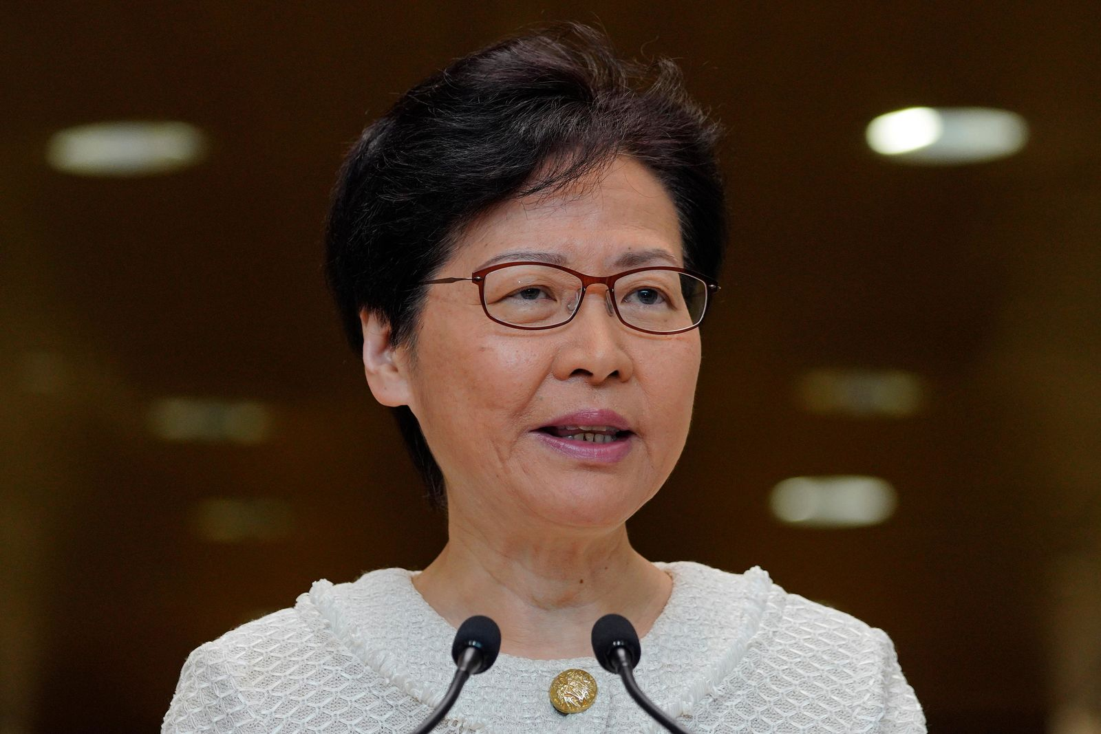Hong Kong Chief Executive Carrie Lam, talks during a press conference at the government building in Hong Kong Tuesday, Sept. 10, 2019.{ } (AP Photo/Vincent Yu)