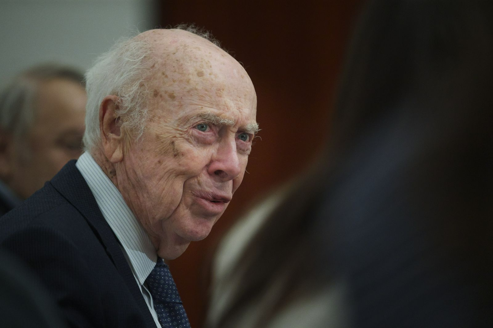 FILE - In this Wednesday, June 17, 2015 file photo, U.S. Nobel laureate biologist James Watson visits the Russian Academy of Sciences in Moscow, Russia. (AP Photo/Ivan Sekretarev)