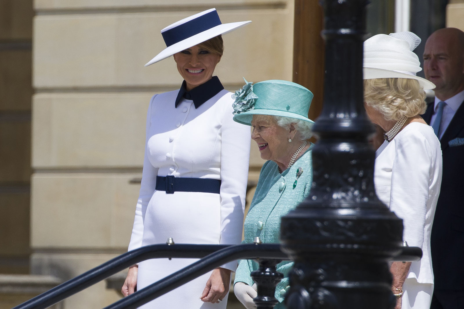First lady Melania Trump, left, stands with Queen Elizabeth II, and Camilla, Duchess of Cornwall at Buckingham Palace, Monday, June 3, 2019, in London. (AP Photo/Alex Brandon)