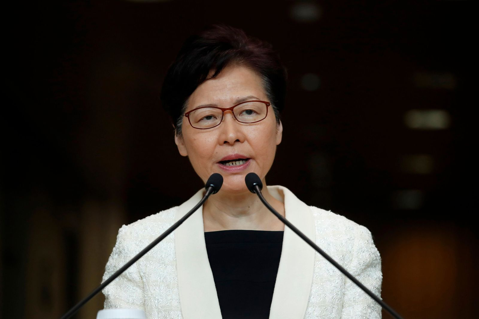 FILE- In this Sept. 3, 2019, file photo, Hong Kong Chief Executive Carrie Lam speaks during a press conference in Hong Kong. Hong Kong's government has a meeting scheduled on Wednesday, Sept. 4 amid speculation leader Carrie Lam may formally withdraw an extradition bill as protesters have demanded. (AP Photo/Jae C. Hong, File)