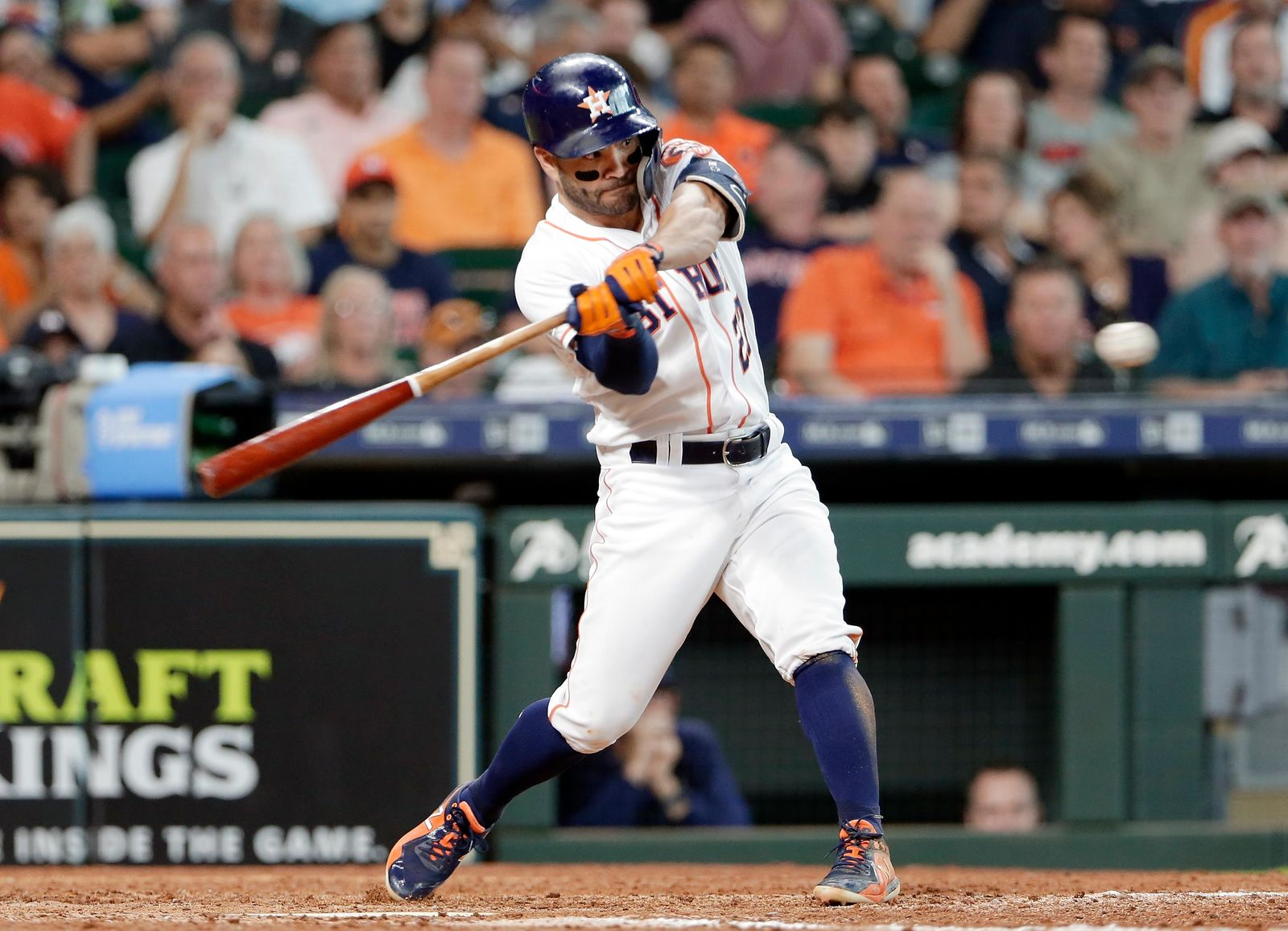 Houston Astros' Jose Altuve hits a home run during the sixth inning of a baseball game against the Tampa Bay Rays, Thursday, Aug. 29, 2019, in Houston. (AP Photo/Michael Wyke)