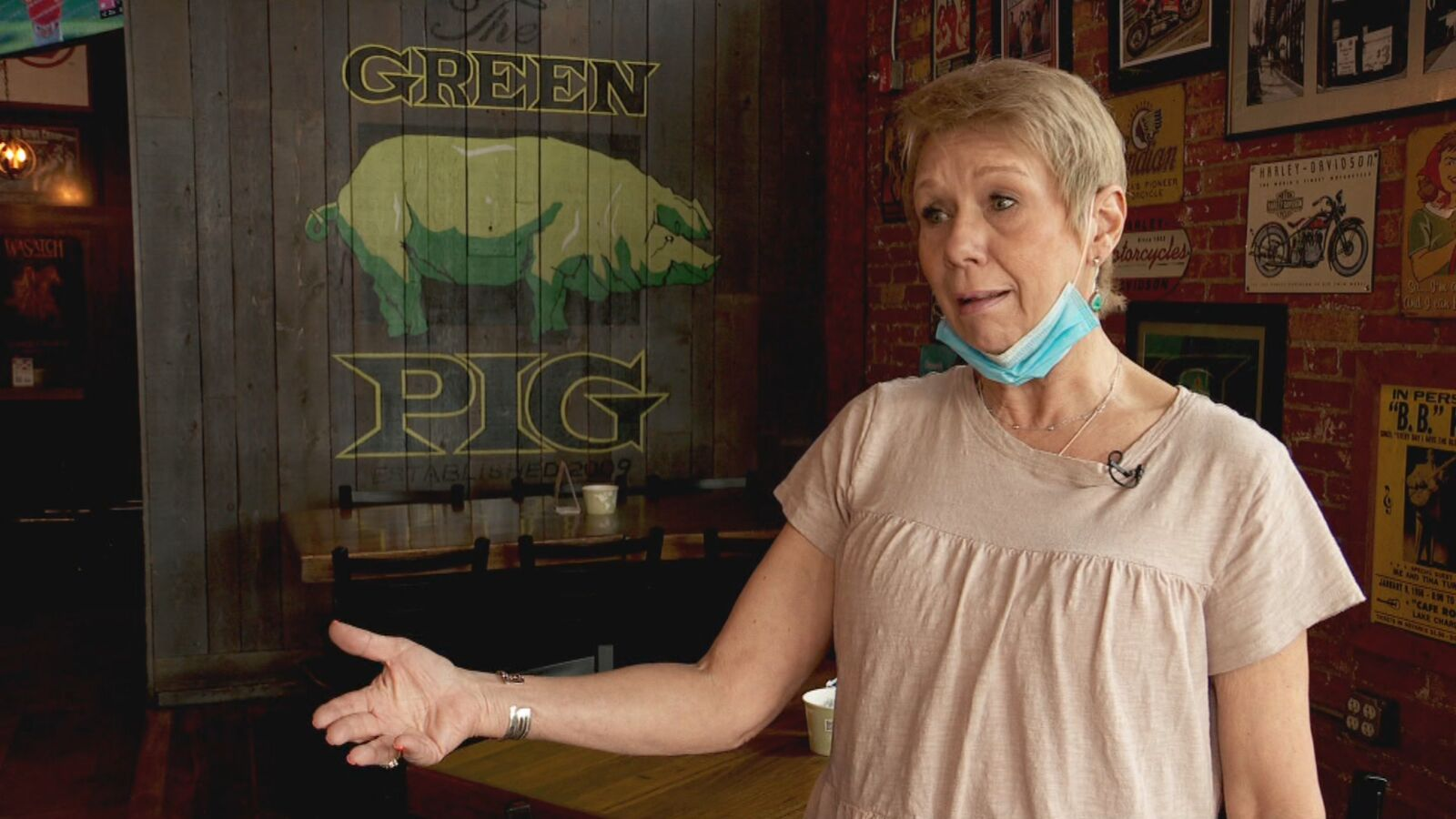 Bridget Gordon, owner of the Green Pig Pub, says the 6 feet of spacing the state required slashed capacity. (KUTV)