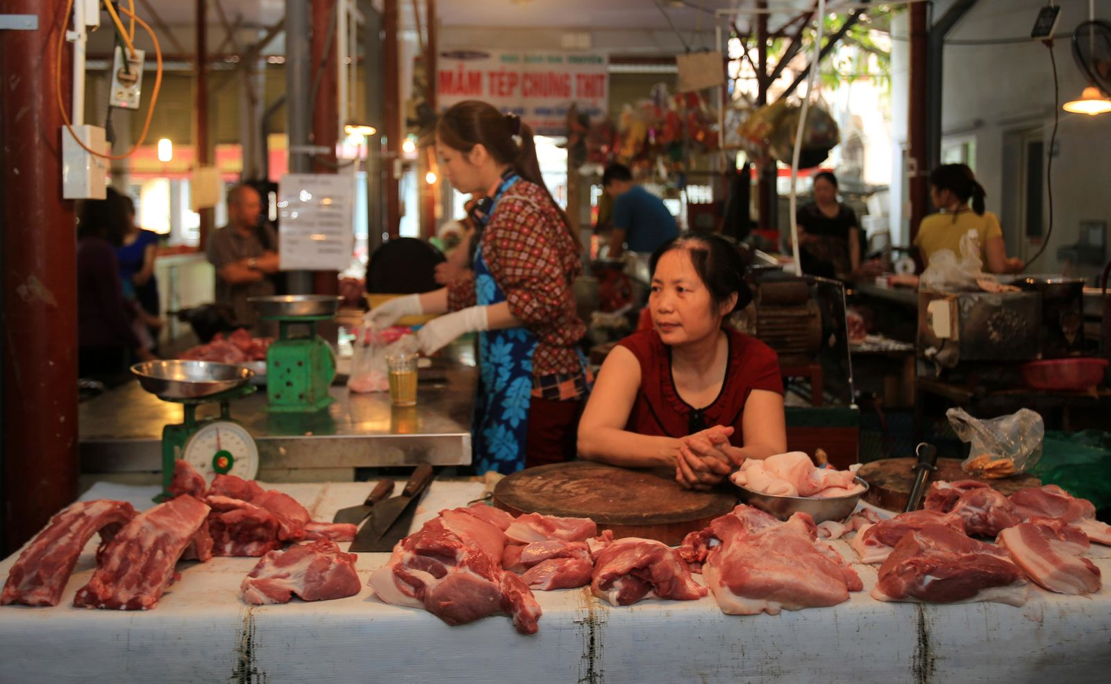Pork is on display for sale at a market in Hanoi, Vietnam, Thursday, June, 20, 2019.{ } (AP Photo/Hieu Dinh)