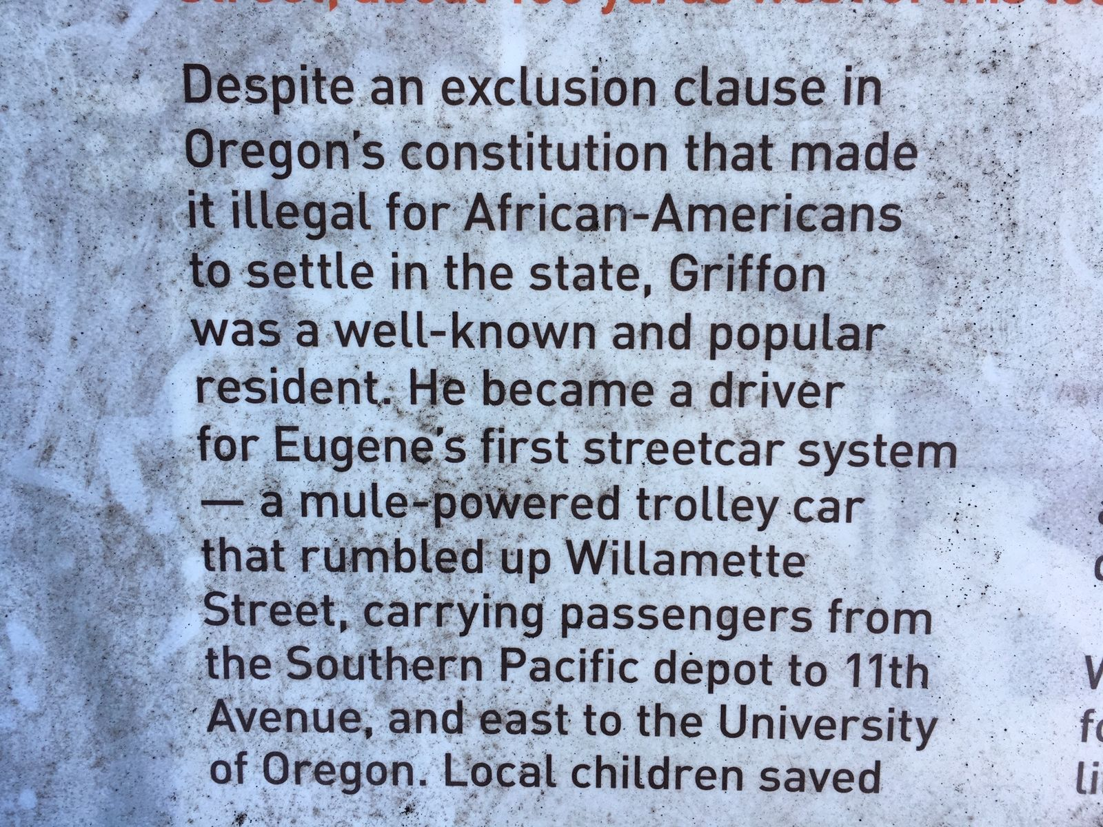 Griffon was among Eugene's earliest African-American residents. In 1909, he purchased a small home at 4th Avenue and Mill Street. (SBG)