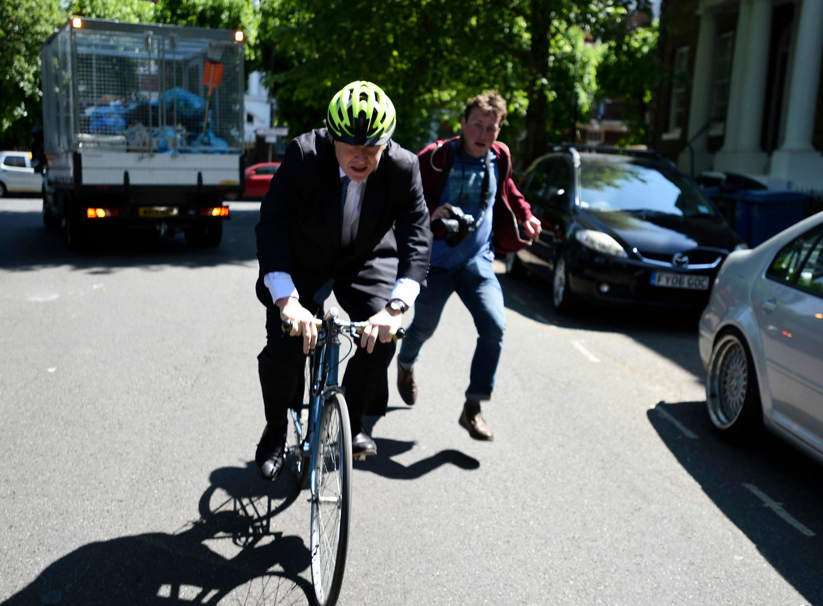 Politician Boris Johnson leaves his home, on the day of the European Parliament elections, in London, Thursday May 23, 2019. (David Mirzoeff/PA via AP)