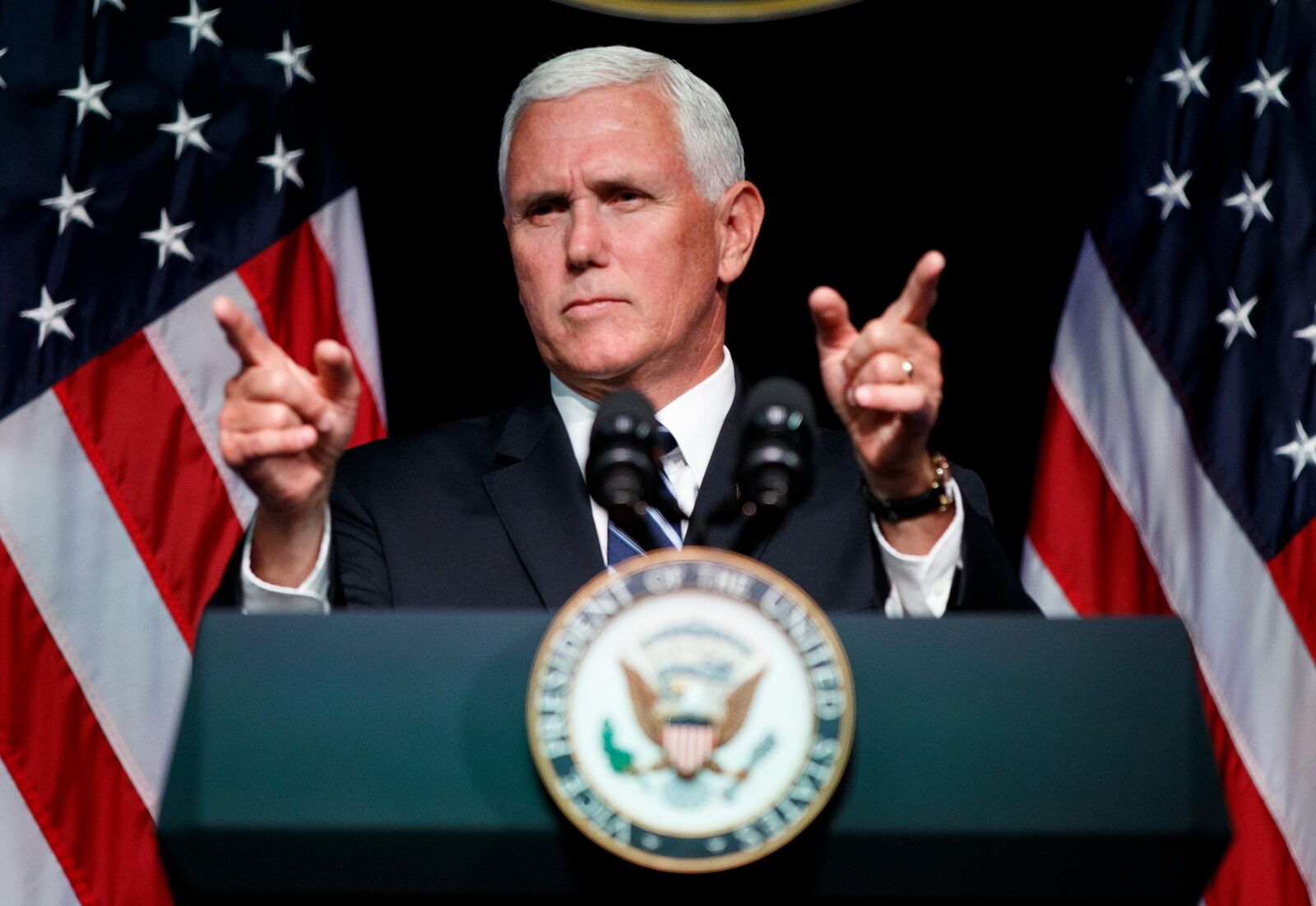 "FILE - In this Aug. 9, 2018, file photo, Vice President Mike Pence gestures during an event on the creation of a U.S. Space Force at the Pentagon. Rising space power China is attacking the newly created U.S. Space Force as a ""direct threat to outer space peace and security."" Its foreign ministry says China is ""deeply concerned about it and resolutely opposed to it."" (AP Photo/Evan Vucci, File)"