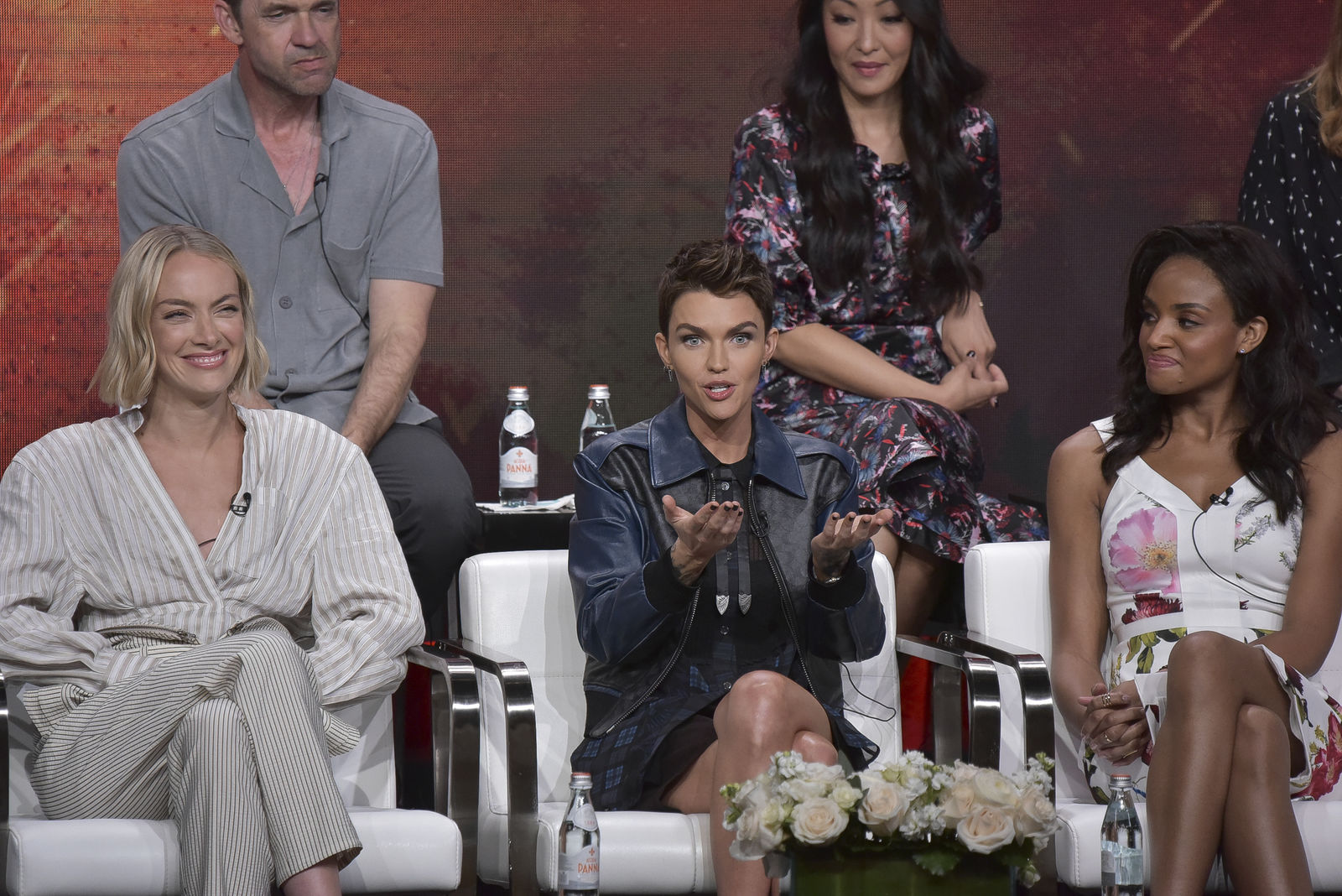 "Rachel Skarsten, from left, Ruby Rose and Meagan Tandy participate in The CW ""Batwoman"" panel during the Summer 2019 Television Critics Association Press Tour at the Beverly Hilton Hotel in Beverly Hills, Calif. (Photo by Richard Shotwell/Invision/AP)"