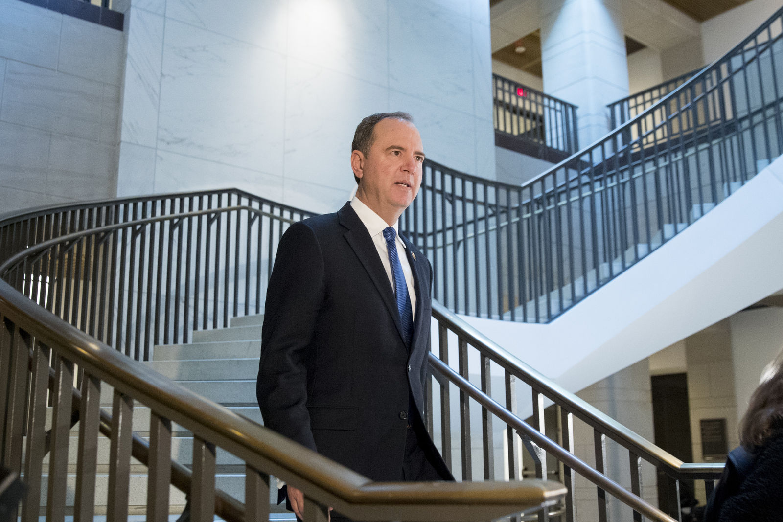 House Intelligence Committee Chairman Rep. Adam Schiff, of Calif., arrives on Capitol Hill in Washington, Monday, Oct. 14, 2019, before former WH advisor on Russia, Fiona Hill, is scheduled to testify before congressional lawmakers as part of the House impeachment inquiry into President Donald Trump. (AP Photo/Andrew Harnik)