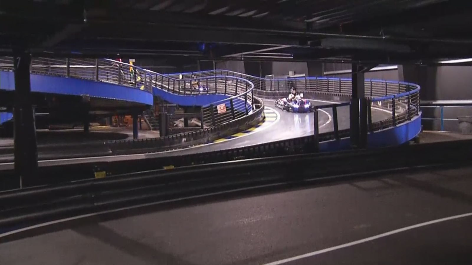 A new kart track opens in Wrentham, claiming to be the largest indoor multi-level kart track in the world. (WJAR)