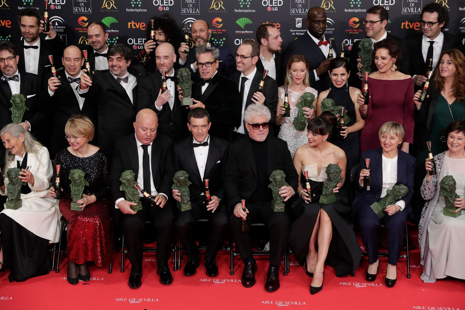 Goya Film Awards winners pose with their trophies for a group photo at the end of the Goya Film Awards Ceremony in Malaga, southern Spain, early Sunday, Jan. 26, 2020. The annual Goya Awards are Spain's main national film awards. (AP Photo/Manu Fernandez)