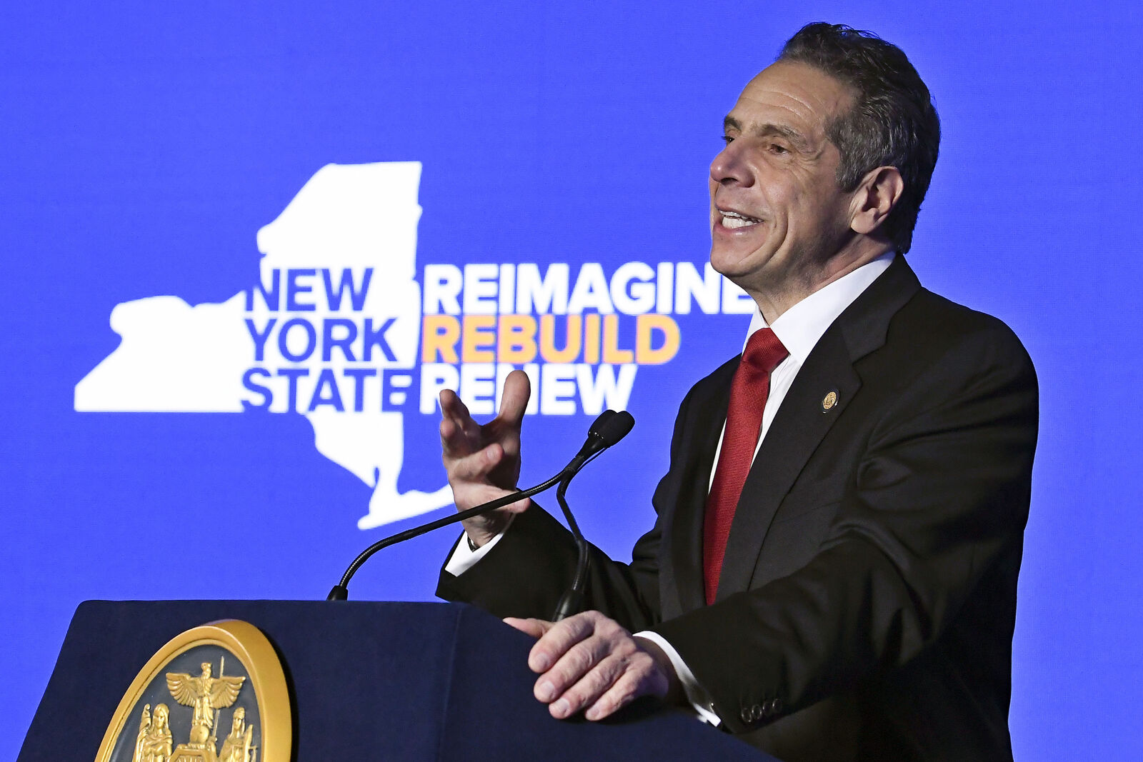 FILE - In this Jan. 11, 2021 file photo, New York Gov. Andrew Cuomo delivers his State of the State address virtually from The War Room at the state Capitol, in Albany, N.Y. (AP Photo/Hans Pennink, Pool, File)