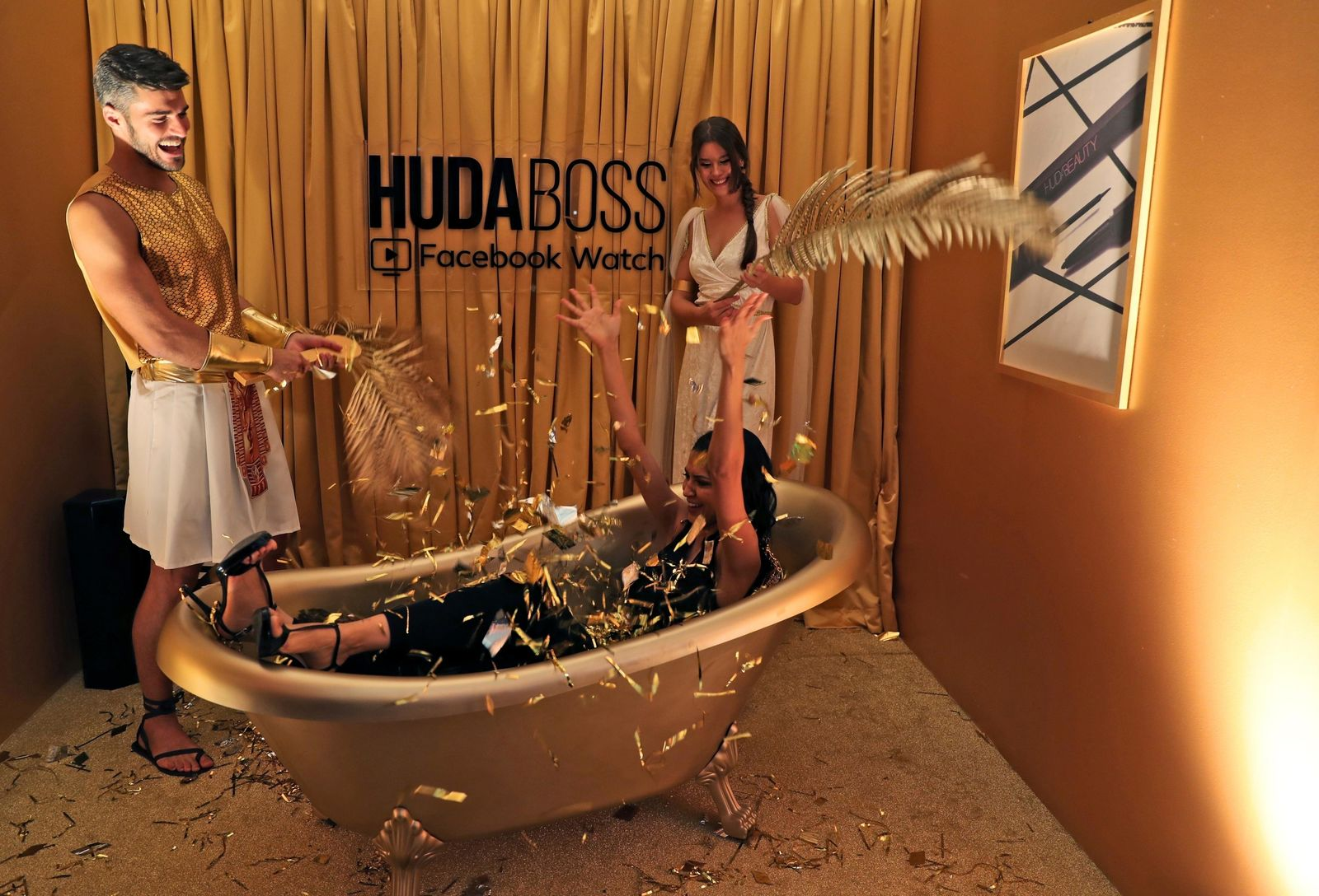 A guest enjoys at the Huda Boss Facebook Watch screening celebration in Dubai, United Arab Emirates, Wednesday, Oct. 9, 2019. (AP Photo/Kamran Jebreili)