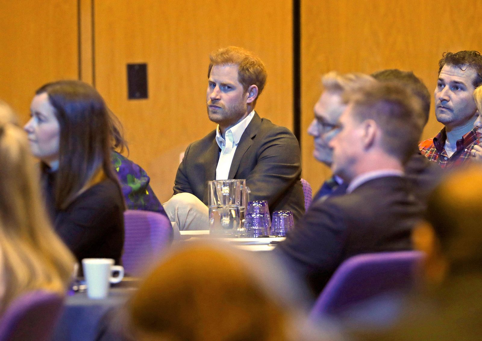 Britain's Prince Harry attends a sustainable tourism summit at the Edinburgh International Conference Centre in Edinburgh, Scotland, Wednesday, Feb. 26, 2020. (Andrew Milligan/Pool Photo via AP)