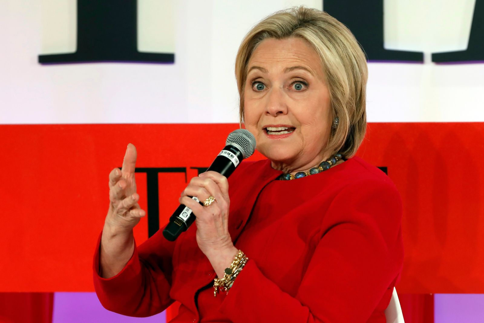 FILE - In this April 23, 2019, file photo, Hillary Clinton speaks during the TIME 100 Summit, in New York. Clinton is popping up in presidential politics again, and some Democrats are wary even as they praise her role as a senior party leader. (AP Photo/Richard Drew, File)