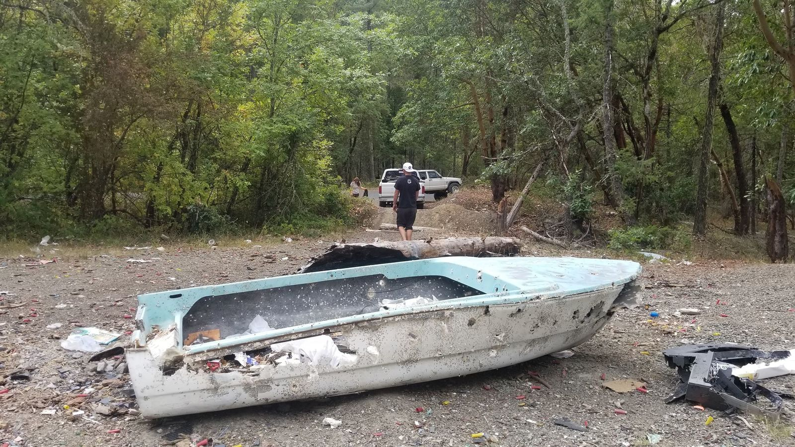 The boat the group found in the forest. (Courtesy: Sam Watson){ }