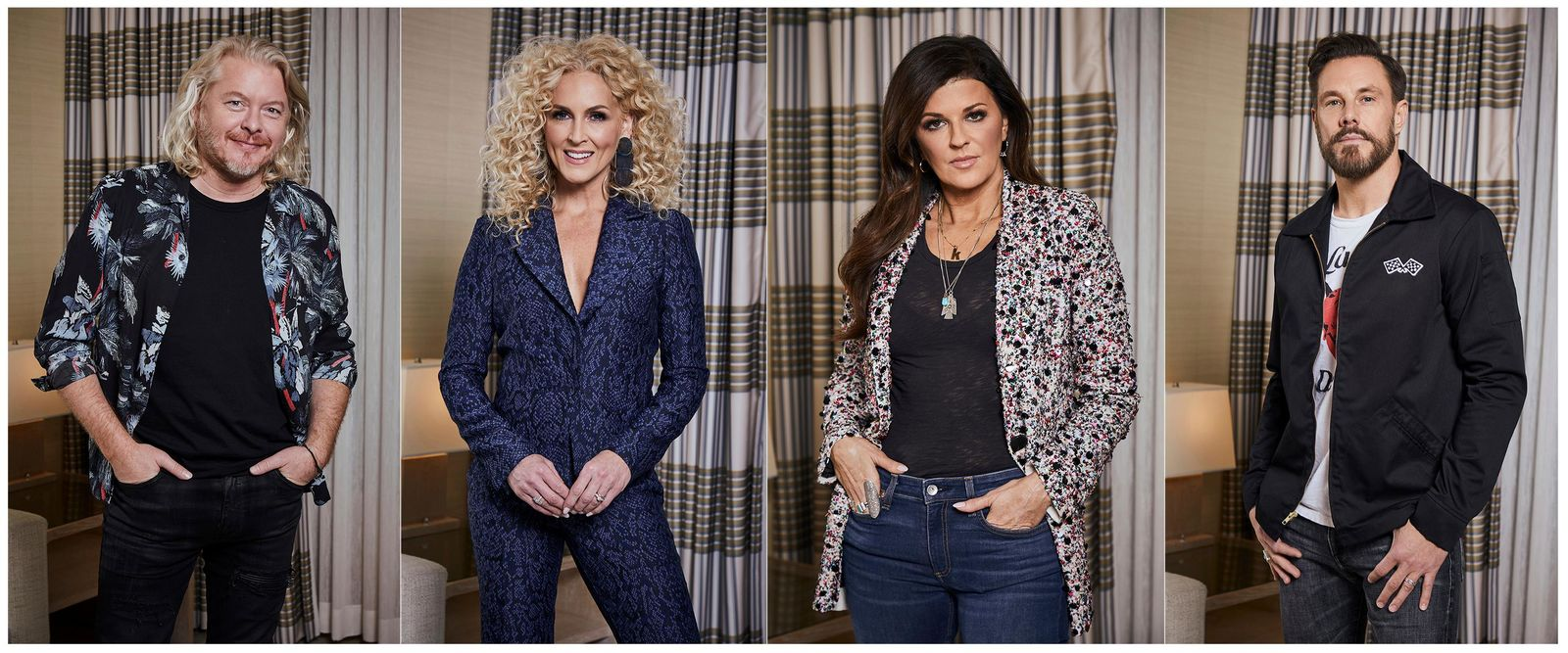 "This combination of photos taken on Jan. 13, 2020 shows members of the country group Little Big Town, from left, Phillip Sweet, Kimberly Schlapman, Karen Fairchild and Jimi Westbrook posing for a portrait in New York to promote their new album ""Nightfall,"" out on Friday.  (Photos by Matt Licari/Invision/AP)"