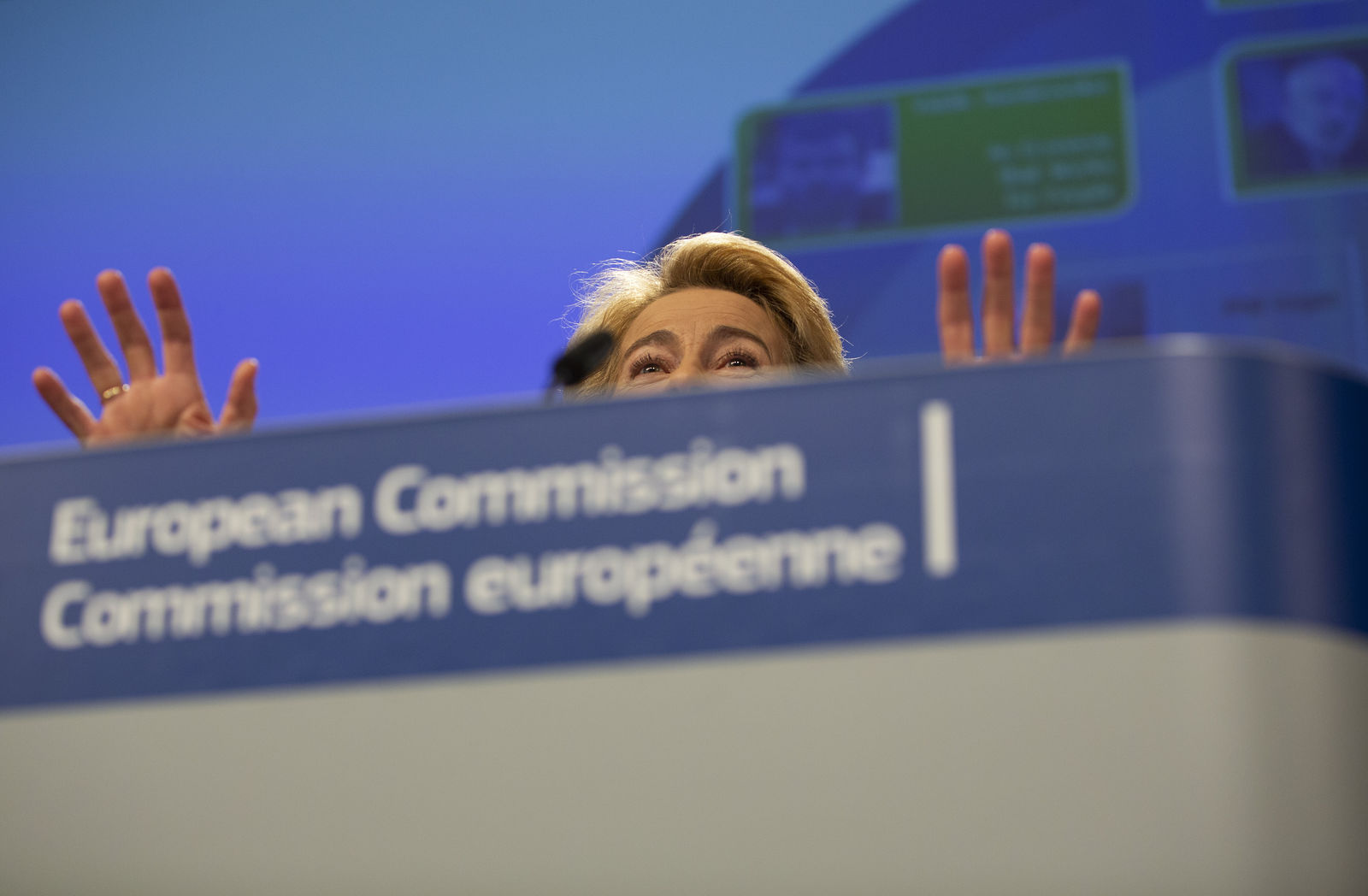 Incoming European Commission President Ursula von der Leyen speaks during a media conference at EU headquarters in Brussels, Tuesday, Sept. 10, 2019. (AP Photo/Virginia Mayo)