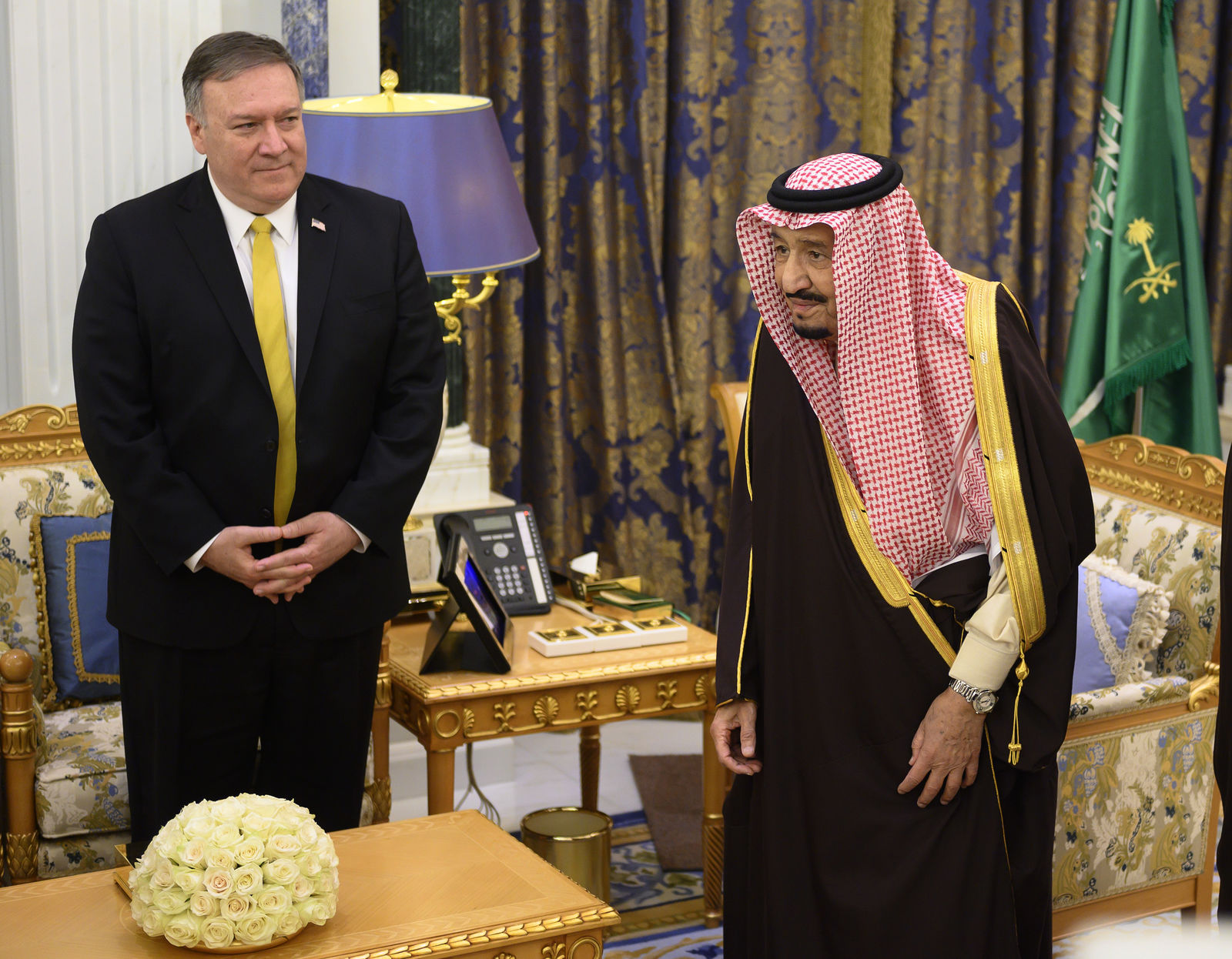 Saudi Arabia's King Salman, right meets with U.S. Secretary of State Mike Pompeo at the Royal Court in Riyadh, Saudi Arabia, Monday, January 14, 2019.{ } (Andrew Cabellero-Reynolds/Pool via AP)