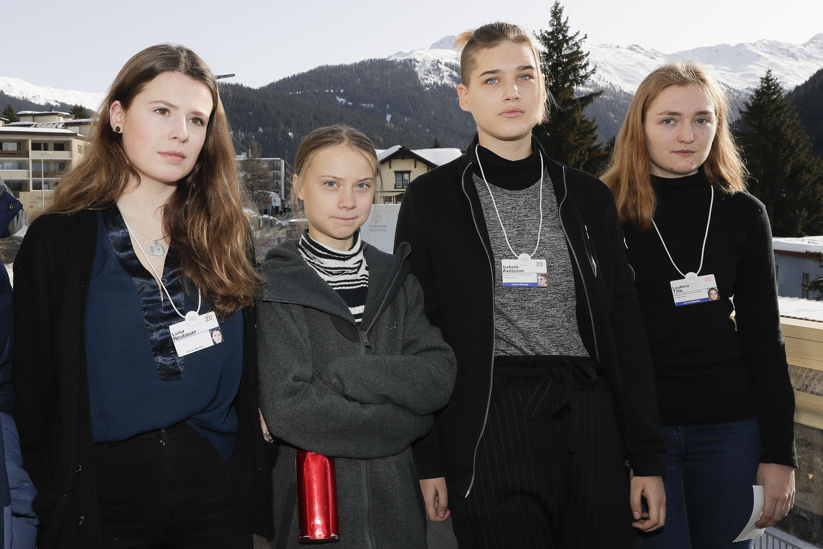 Climate activists Luisa Neubauer, Greta Thunberg, Isabelle Axelsson and Loukina Tille, from left, arrive for a news conference in Davos, Switzerland, Friday, Jan. 24, 2020.{ } (AP Photo/Markus Schreiber)